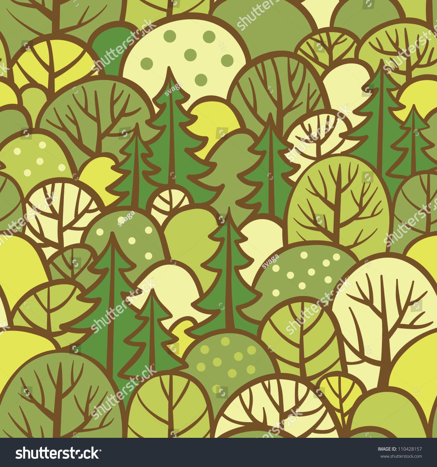 Seamless Tree Pattern Forest Illustration Vector Stock Photo (Photo ...