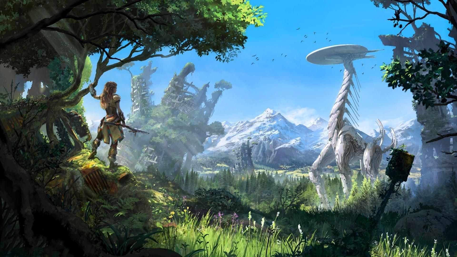 forest, Landscape, Robot, Sky, Futuristic, Horizon: Zero Dawn ...