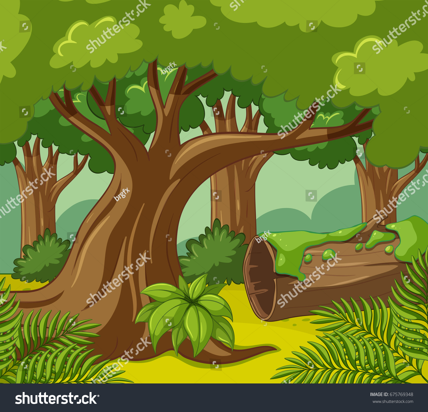 Forest Scene Many Trees Illustration Vectores En Stock 675769348 ...