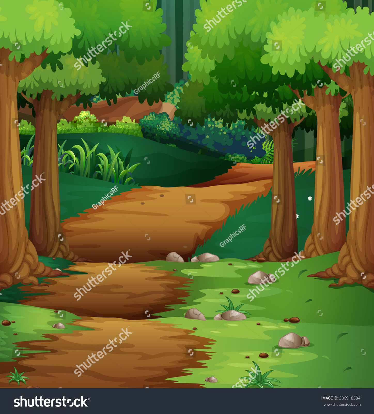 Forest Scene Dirt Road Middle Illustration Stock Vector 386918584 ...