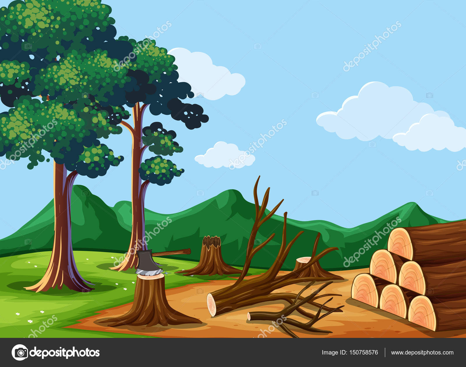 Forest scene with chopped woods — Stock Vector © interactimages ...