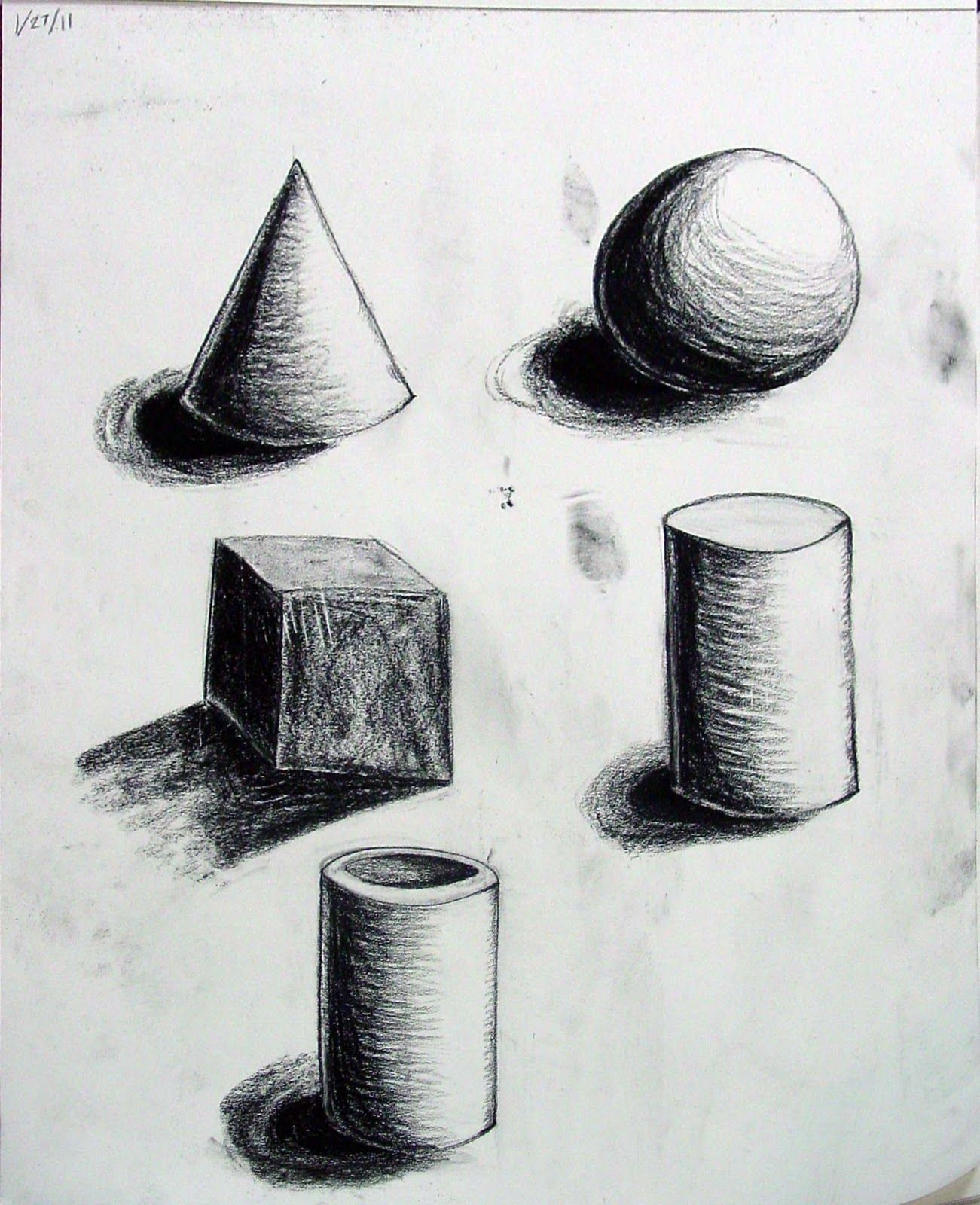 Form- These sketches of different shapes in 3D really bring out the ...