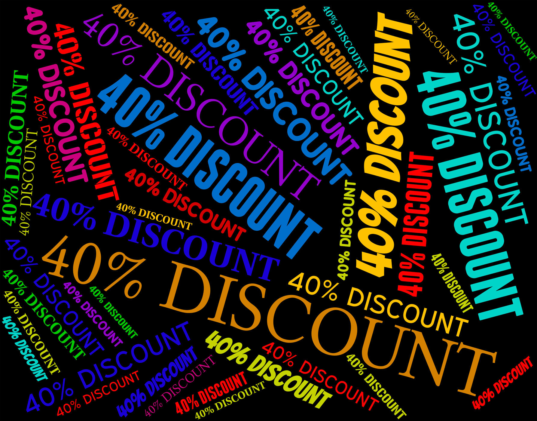 Forty Percent Discount Shows Retail Save And Offers, Bargain, Promo, Word, Text, HQ Photo