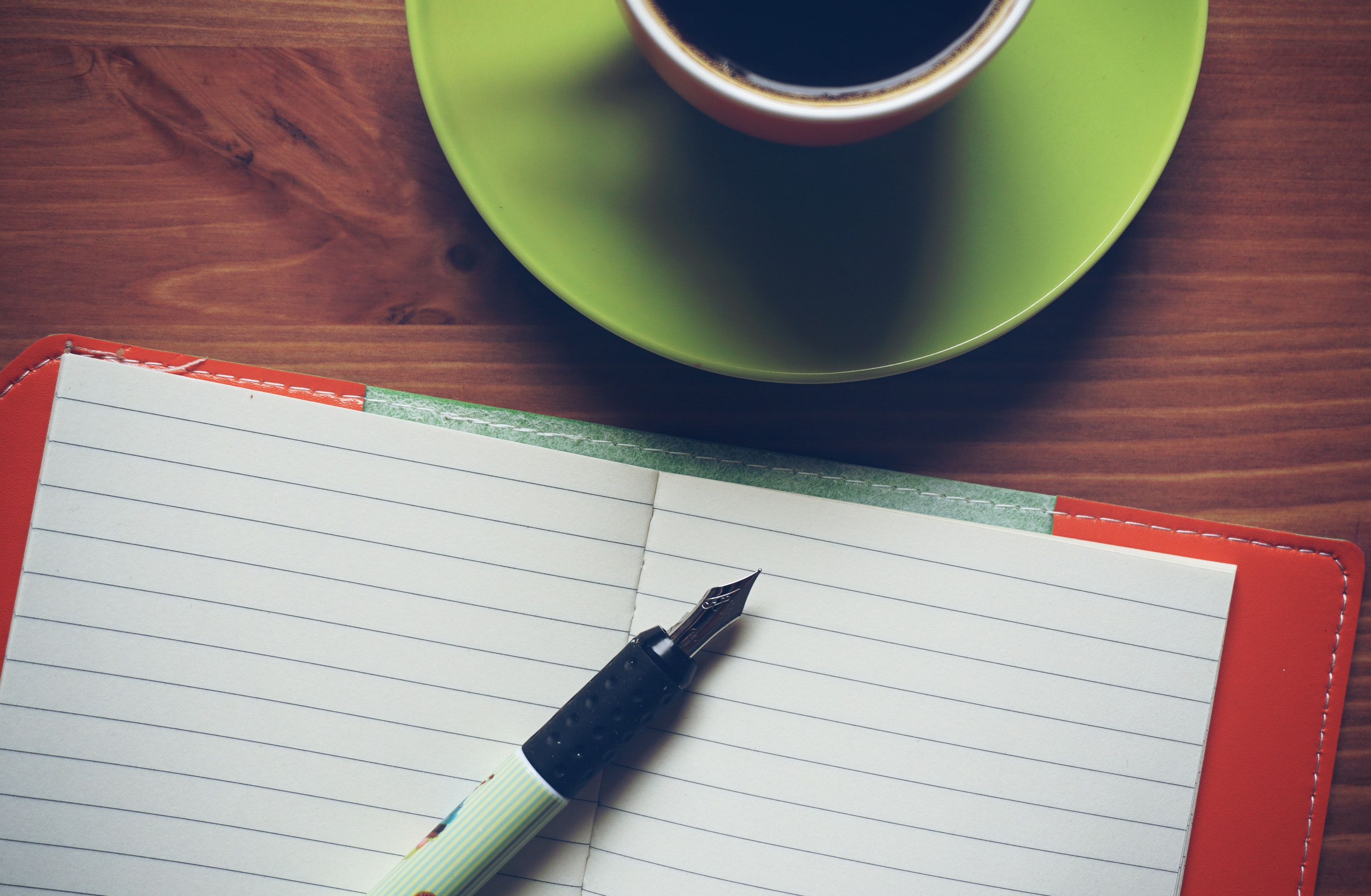 Fountain Pen on Top of Notebook Beside Drinking Mug, Beverage, Cafe, Caffeine, Coffee, HQ Photo