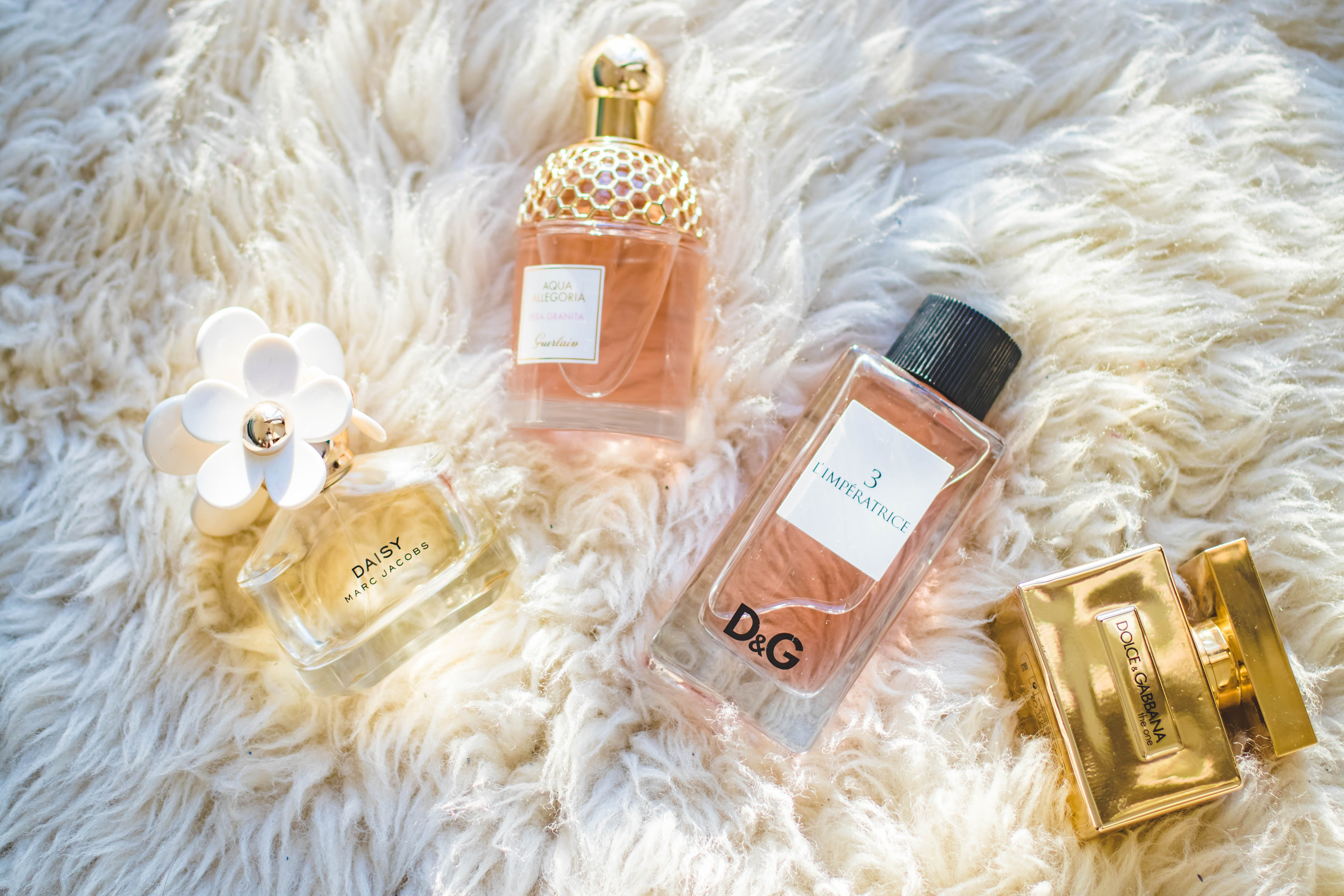 Four Assorted Perfume Glass Bottles, Hygiene, Luxury, Healthcare, Gold, HQ Photo