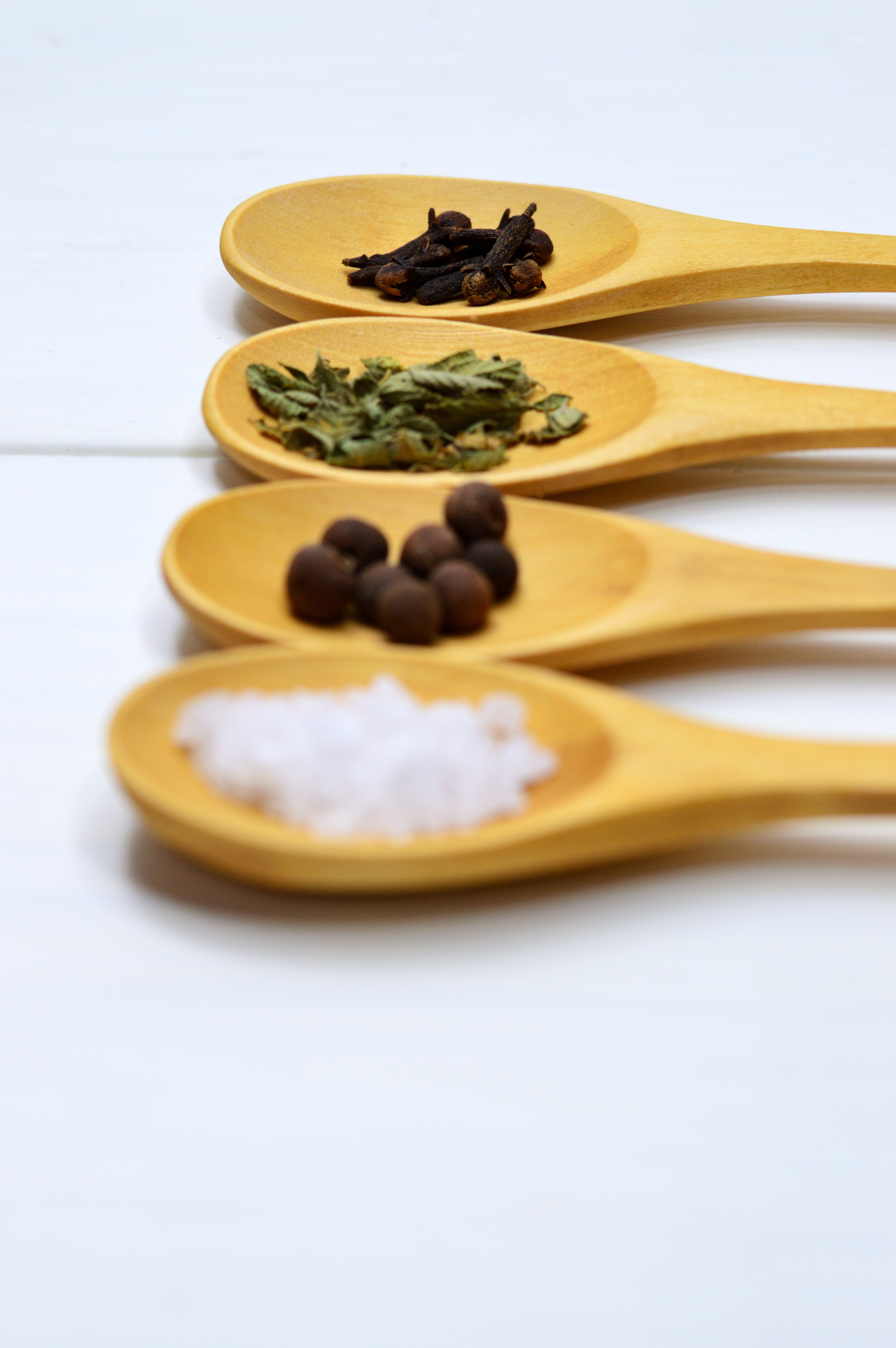 Four Assorted Spices on Brown Wooden Spoon, Bright, Close -up, Herbs, Ingredients, HQ Photo