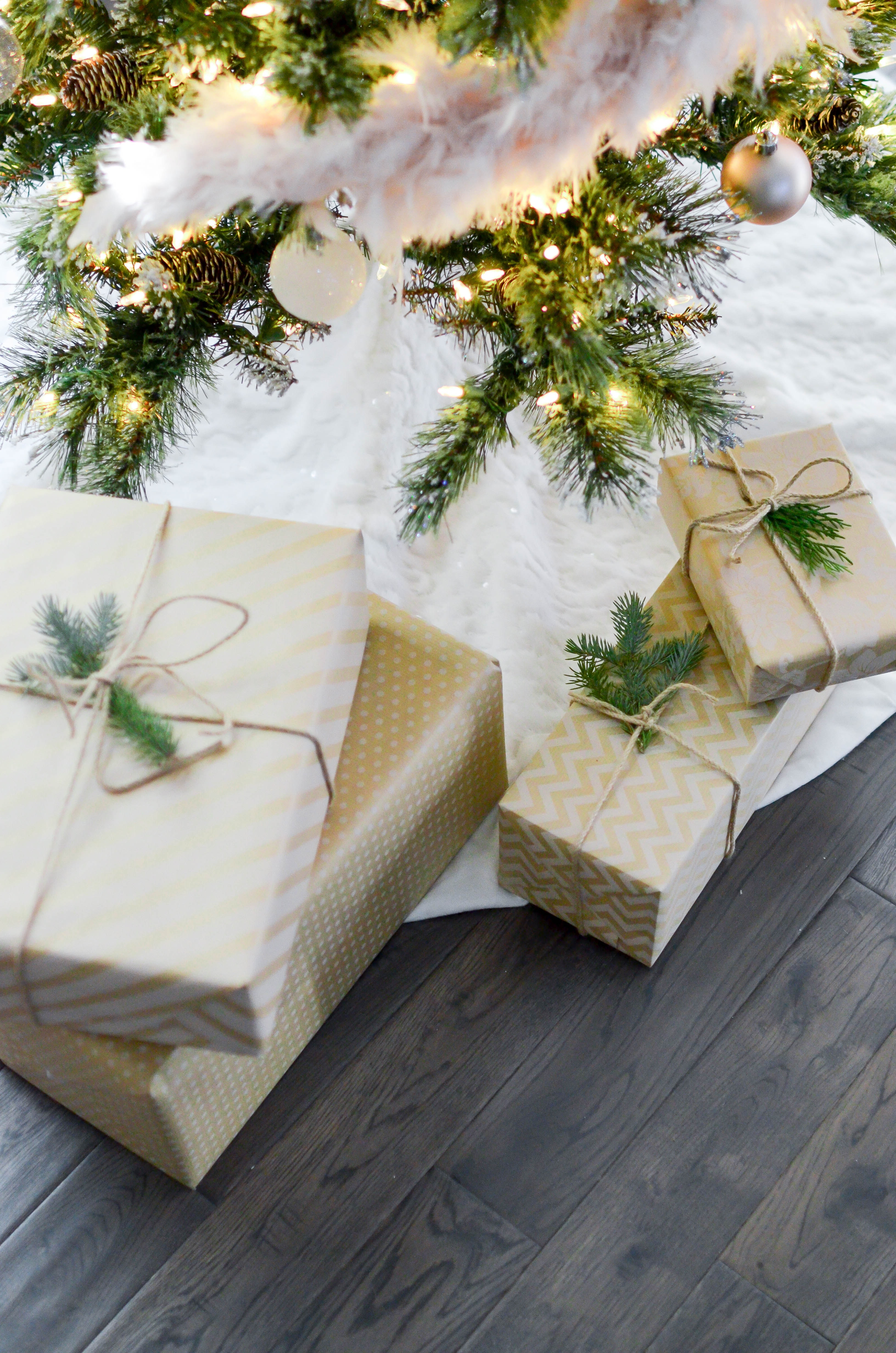 Four Boxes Near Lighted String Lights, Ornament, Holiday, Gold, Presents, HQ Photo