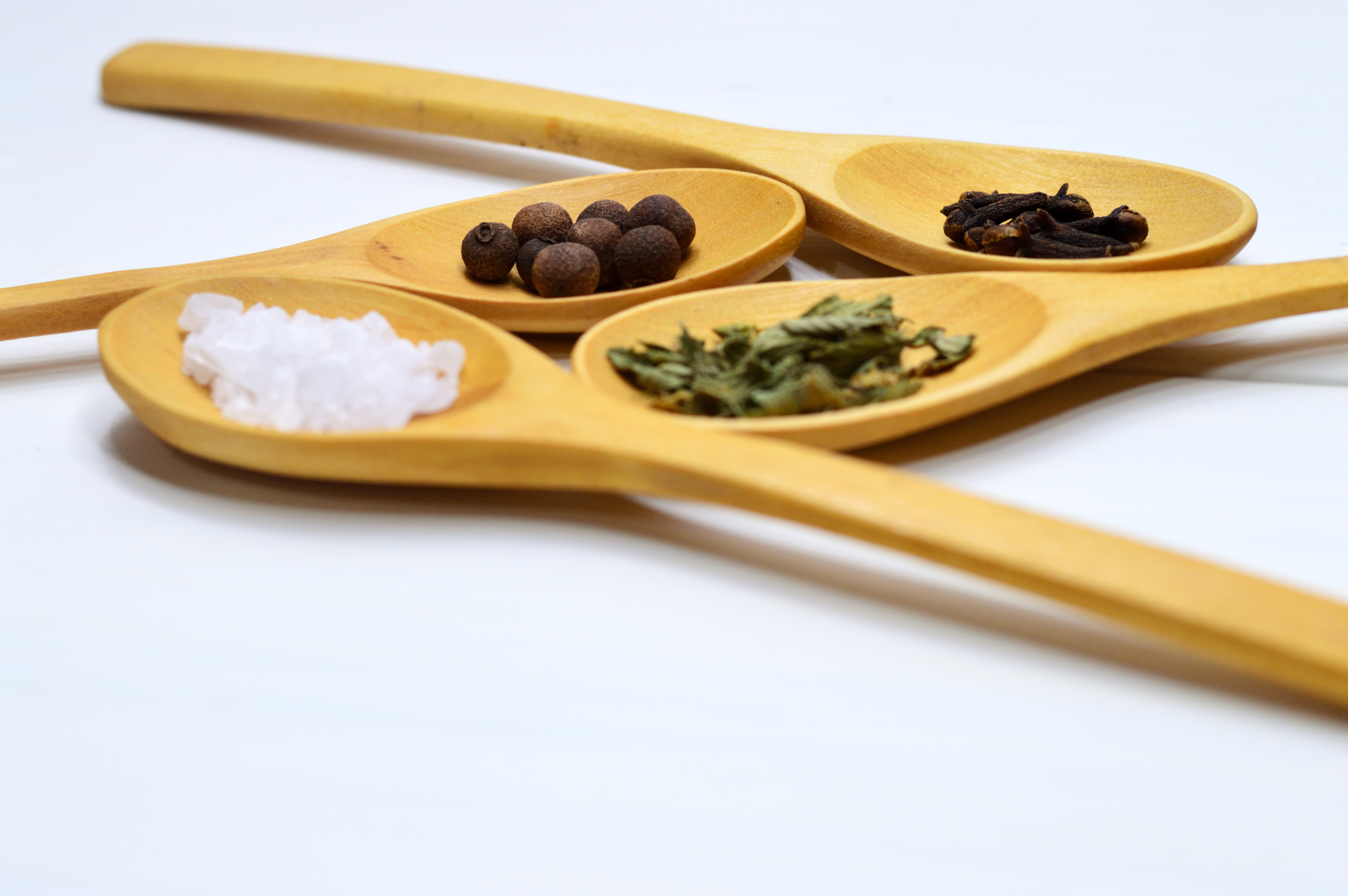 Four brown wooden ladle photo
