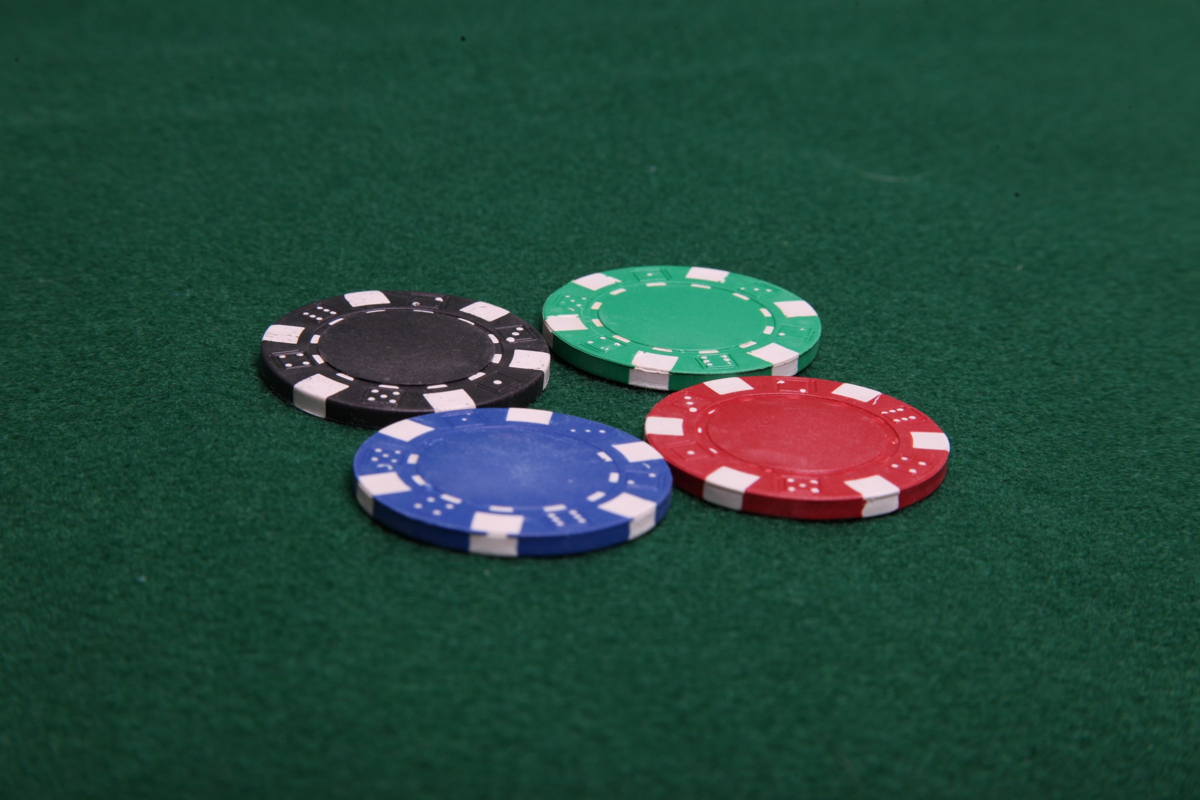 Four Poker Chips, Addiction, Bet, Black, Blue, HQ Photo