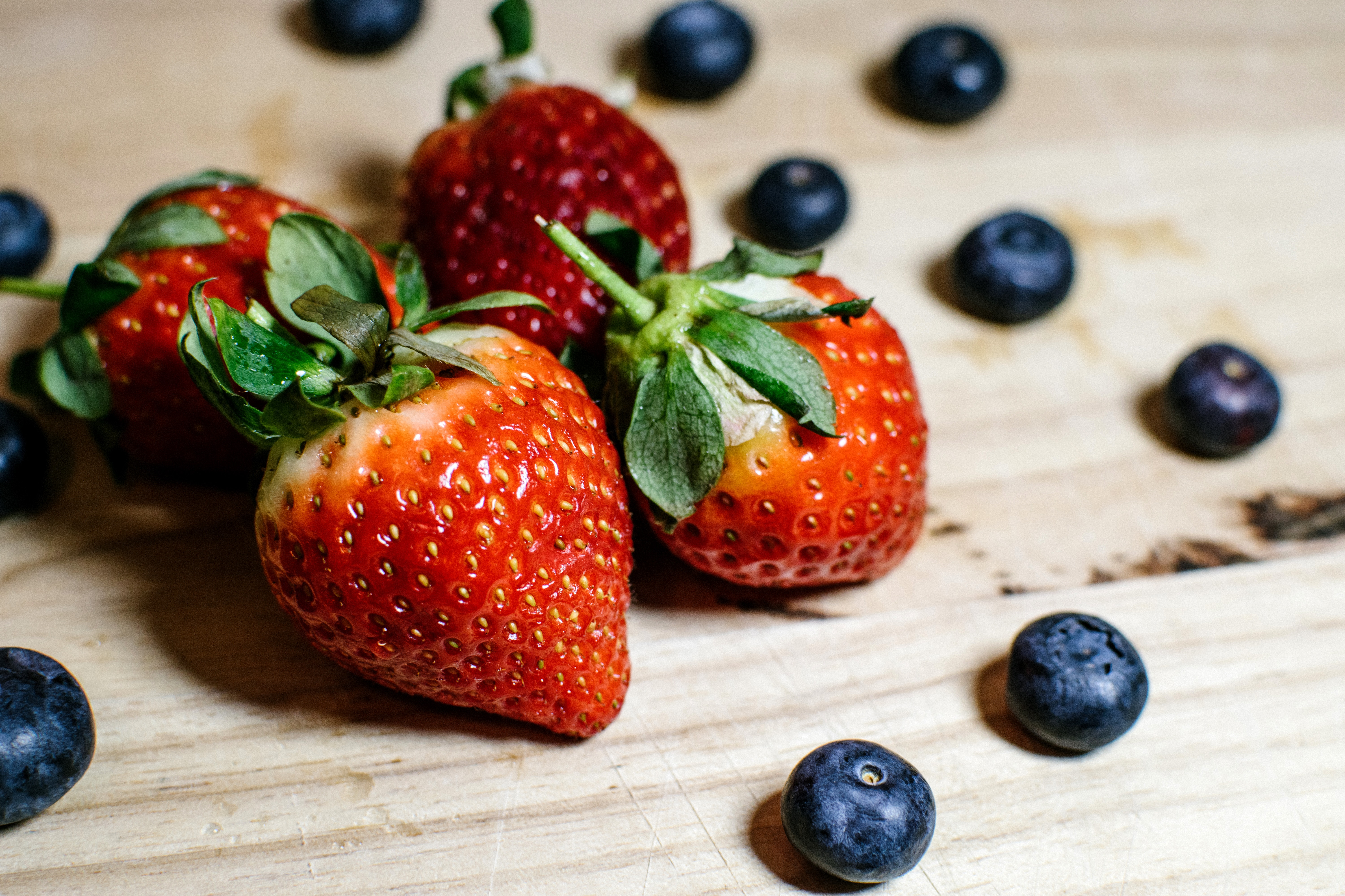 Four Strawberries and Blueberries, Berries, Blueberries, Close-up, Delicious, HQ Photo