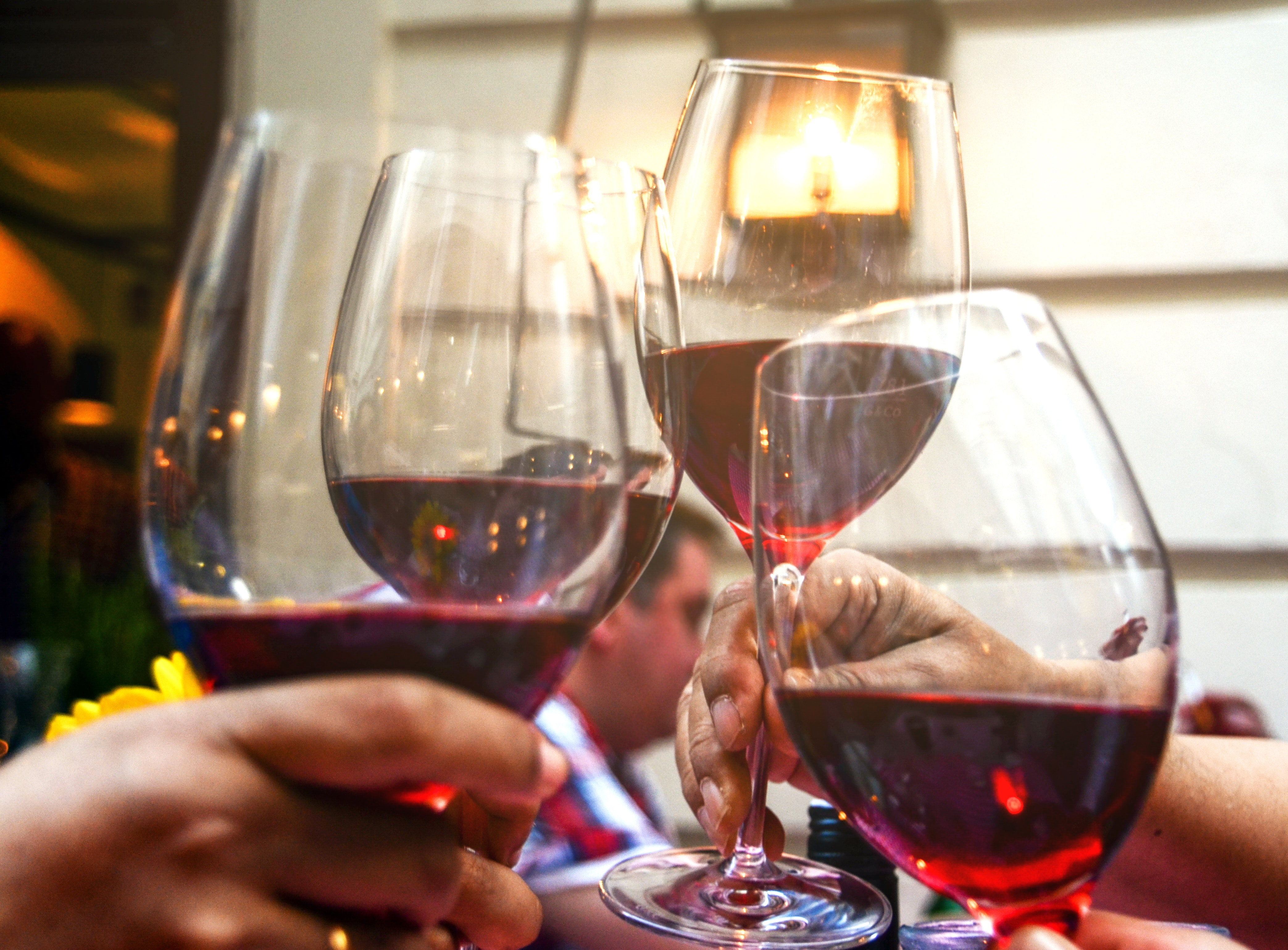 Four Wine Glasses With Red Wine, Alcohol, Liquid, Wine, Taste, HQ Photo