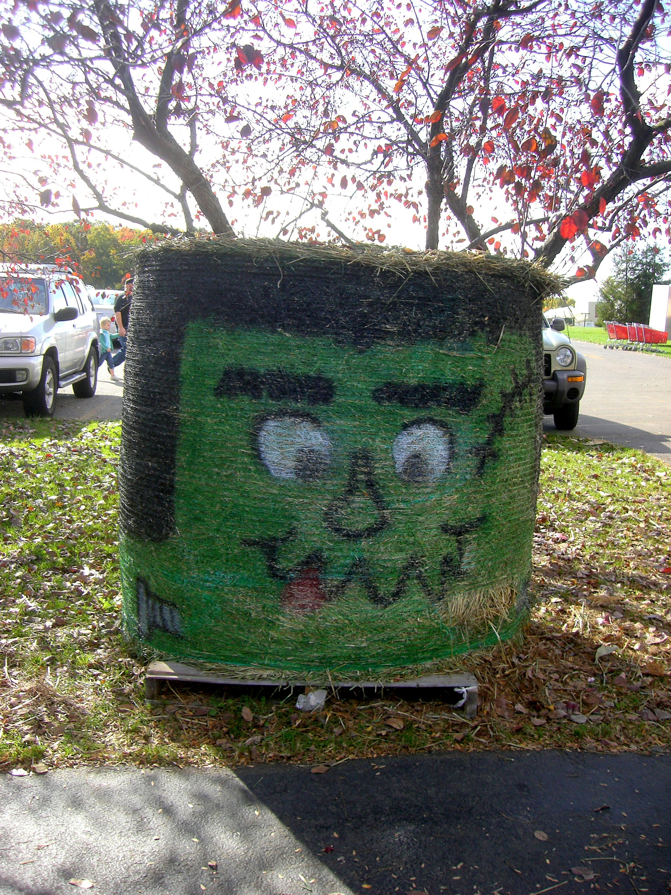 Frankenstien Hay Bail, Autumn, Monster, Scary, HQ Photo