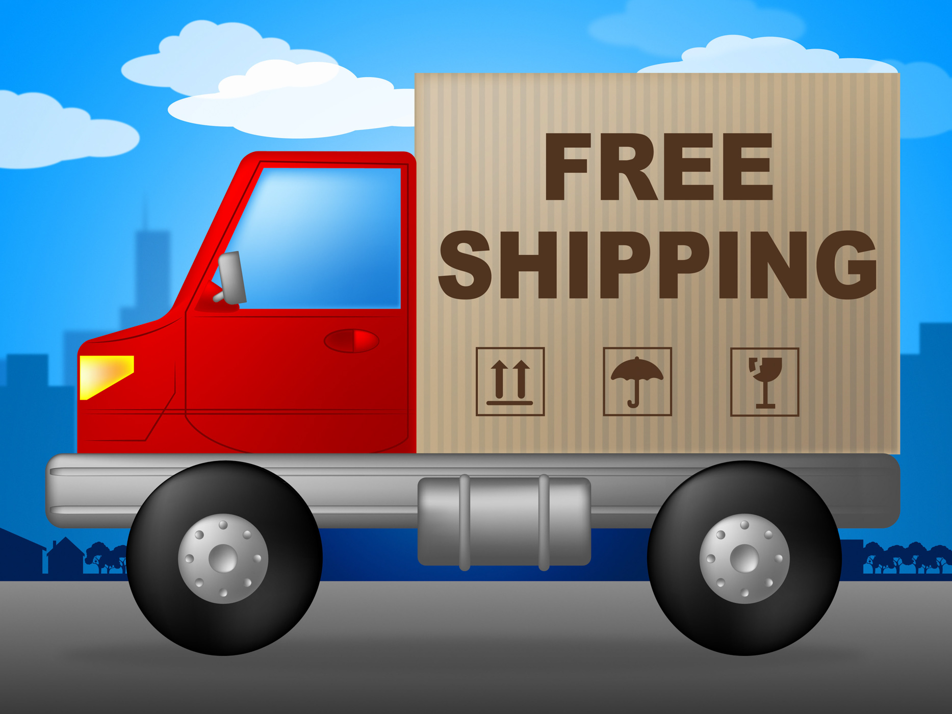 Free Shipping Shows With Our Compliments And Deliver, Handout, Withourcomplimen, Shipping, Sending, HQ Photo