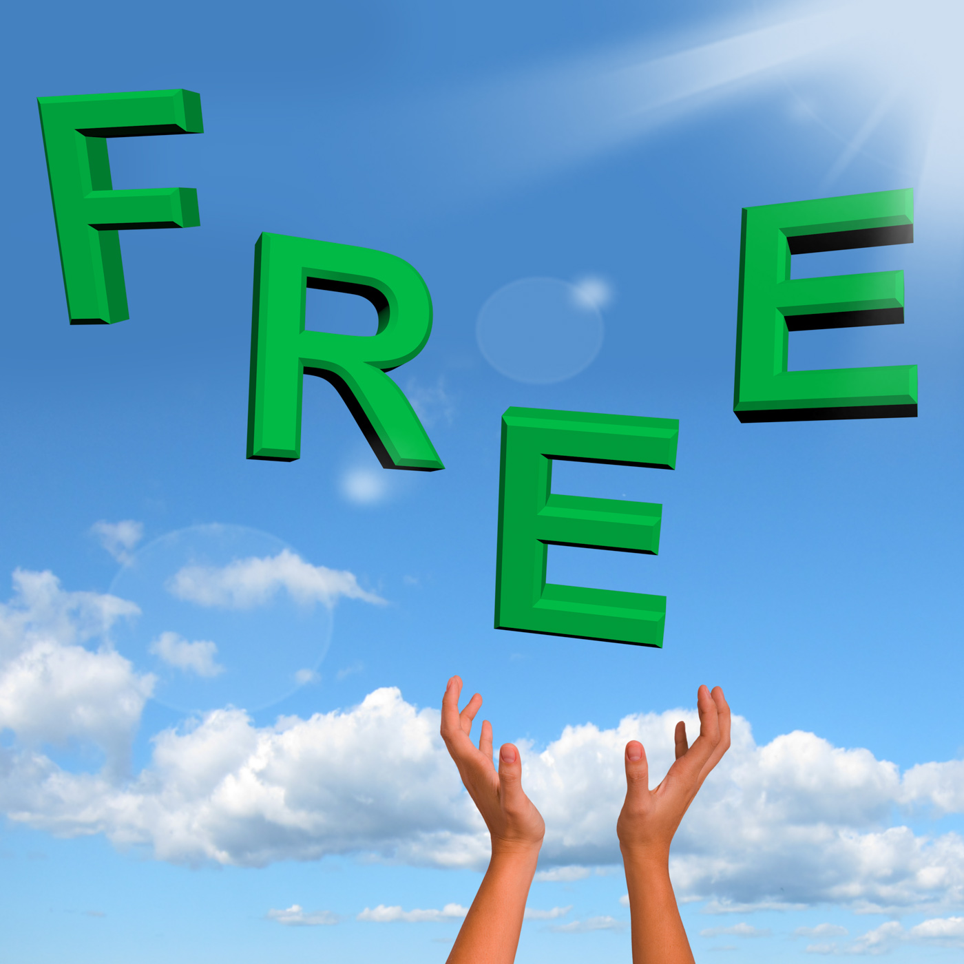 Free word falling in green showing freebies and promotions photo