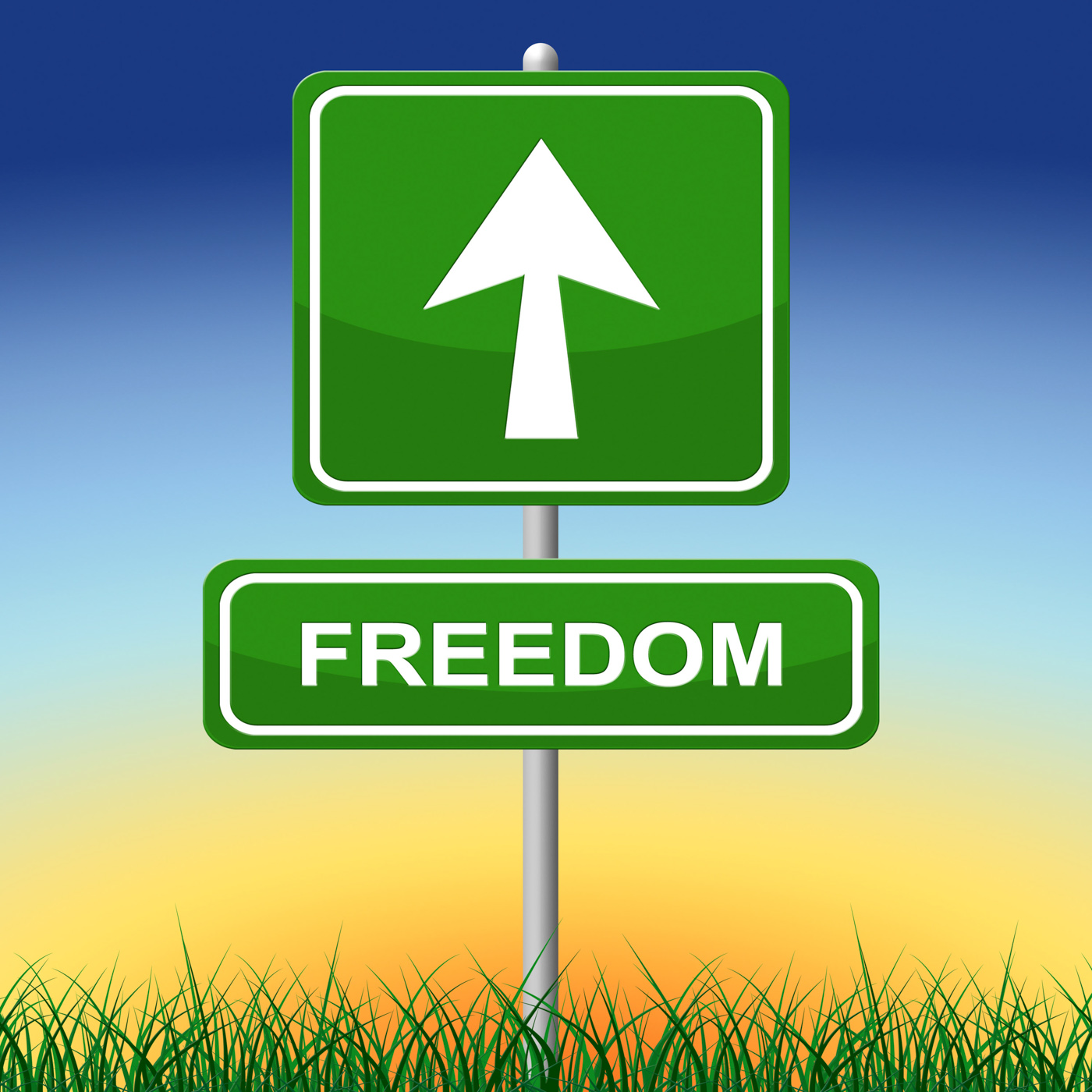 Freedom sign represents get away and direction photo