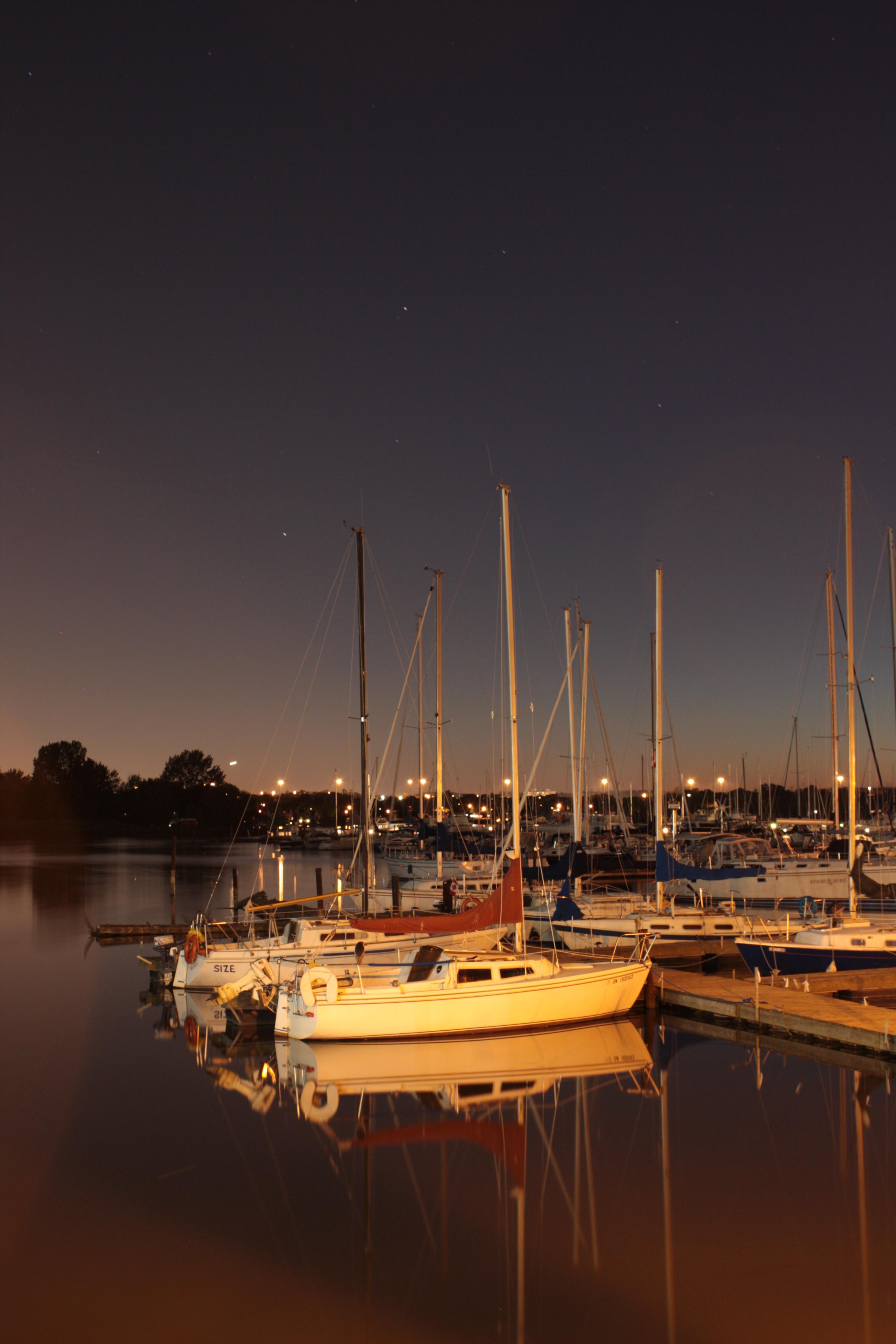 Frenchmans Bay at night, Boats, Lake, Mast, Night, HQ Photo