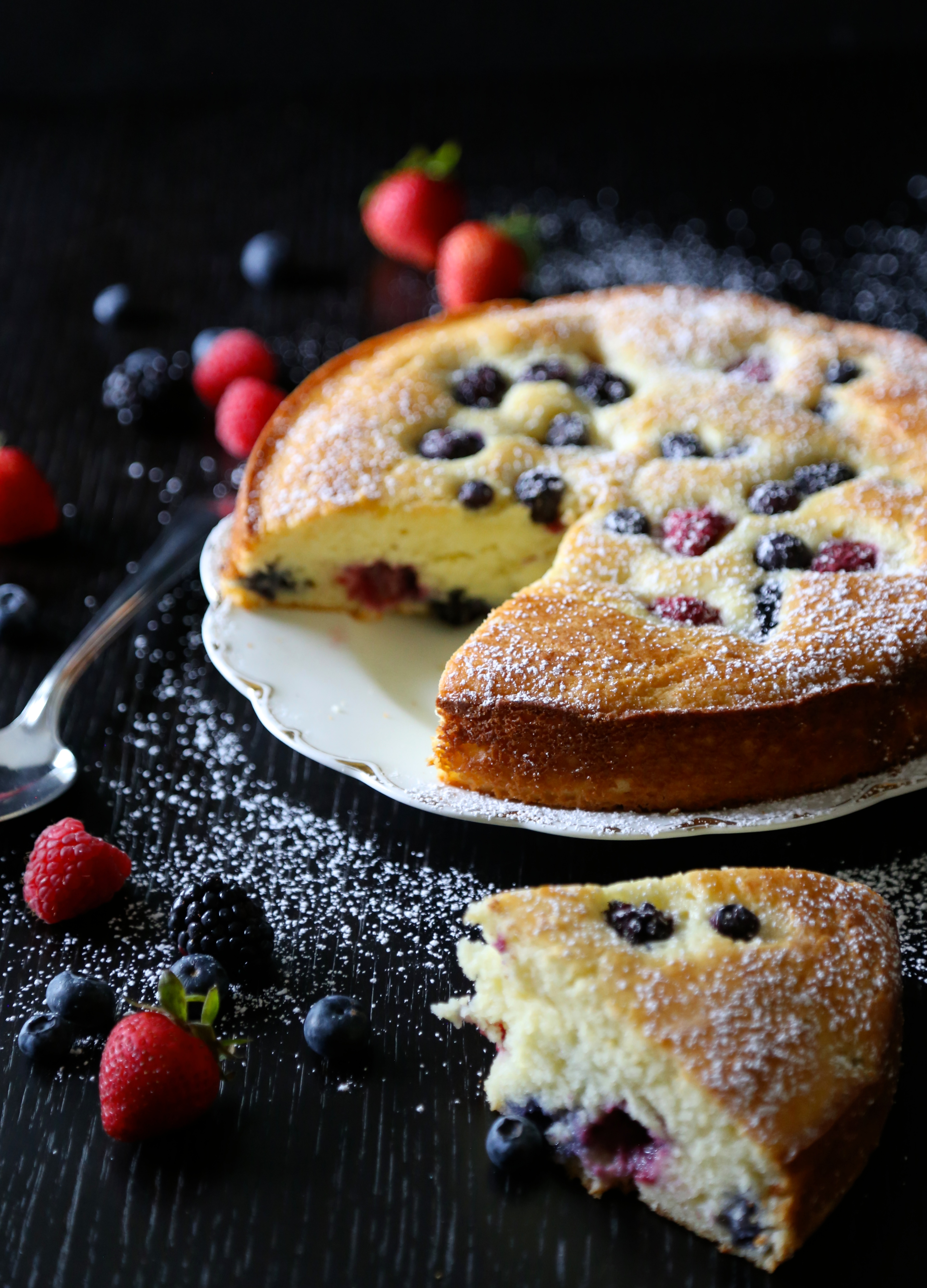 easy ricotta cake with fresh berries - Climbing Grier Mountain