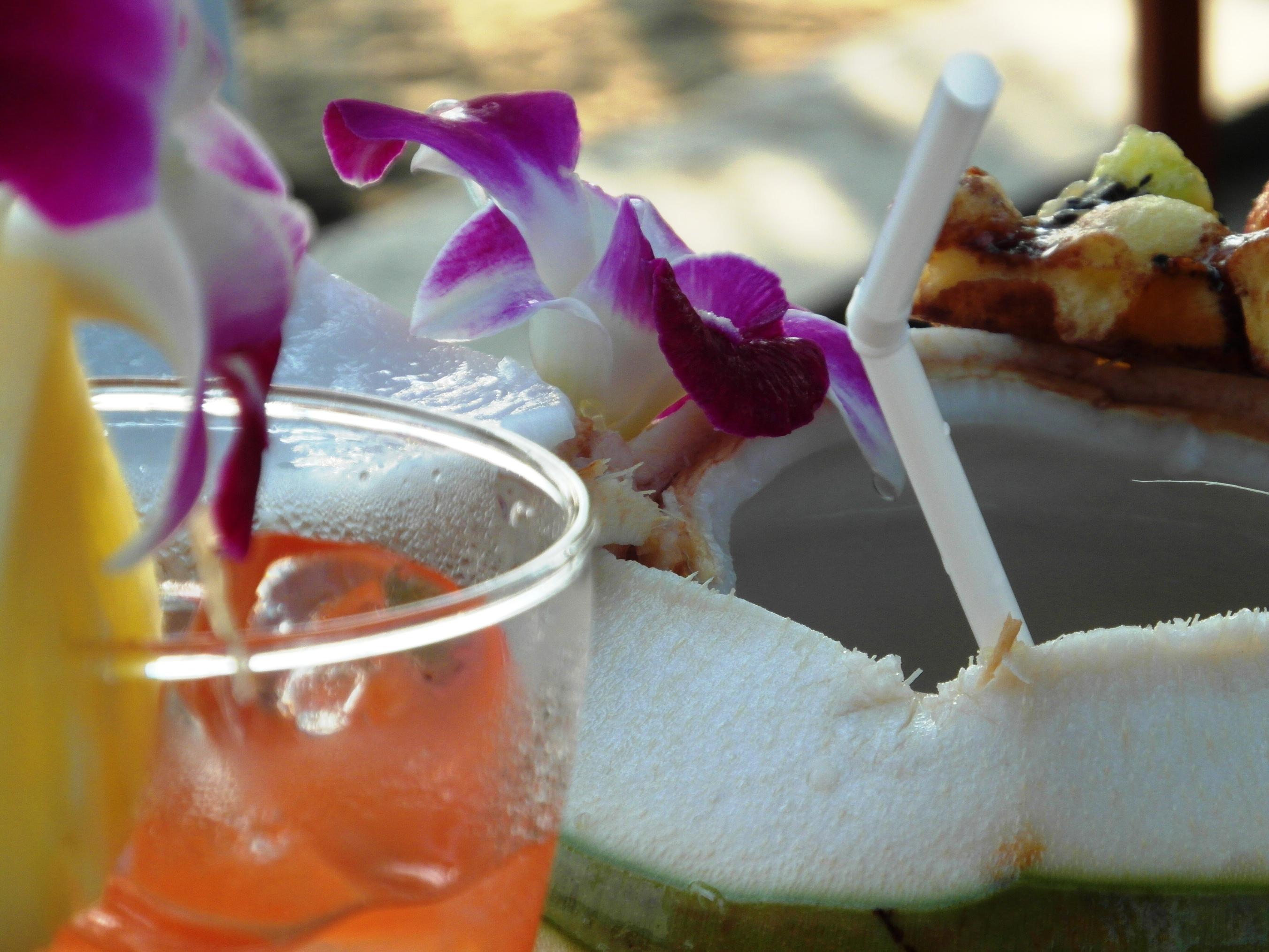 Fresh coconut drink on the beach photo