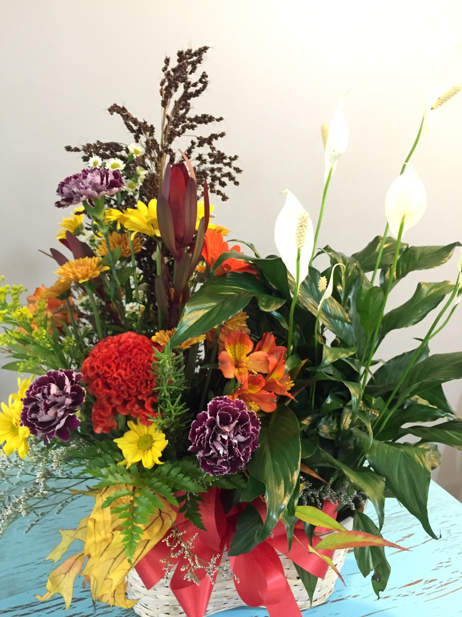 Mixed basket of green plants and fresh flower arrangements in Troy ...