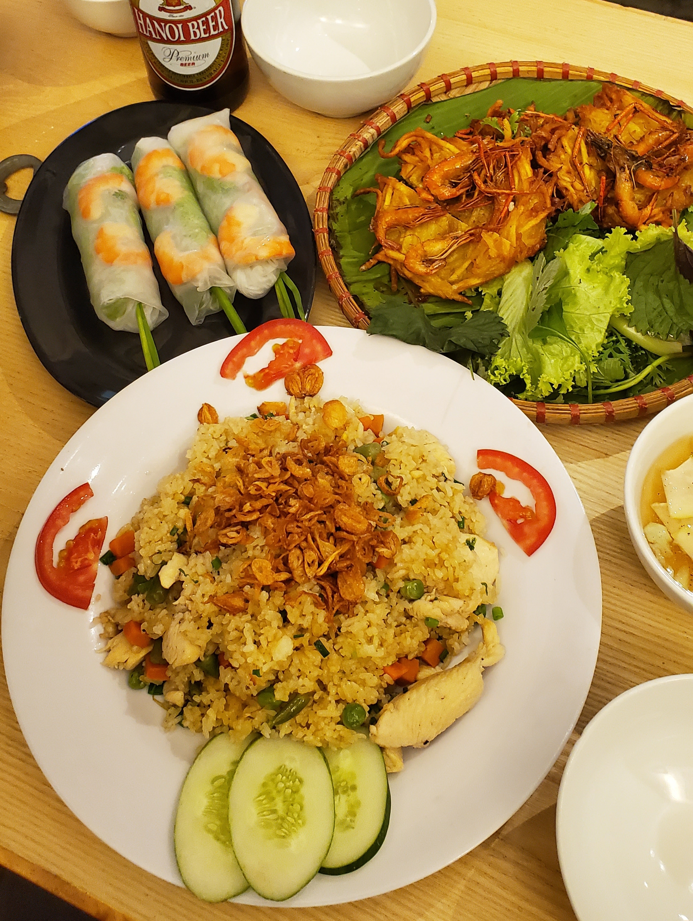 Fried Rice, Spring rolls & Shrimps, Fried Rice, Spring rolls & Shrimps