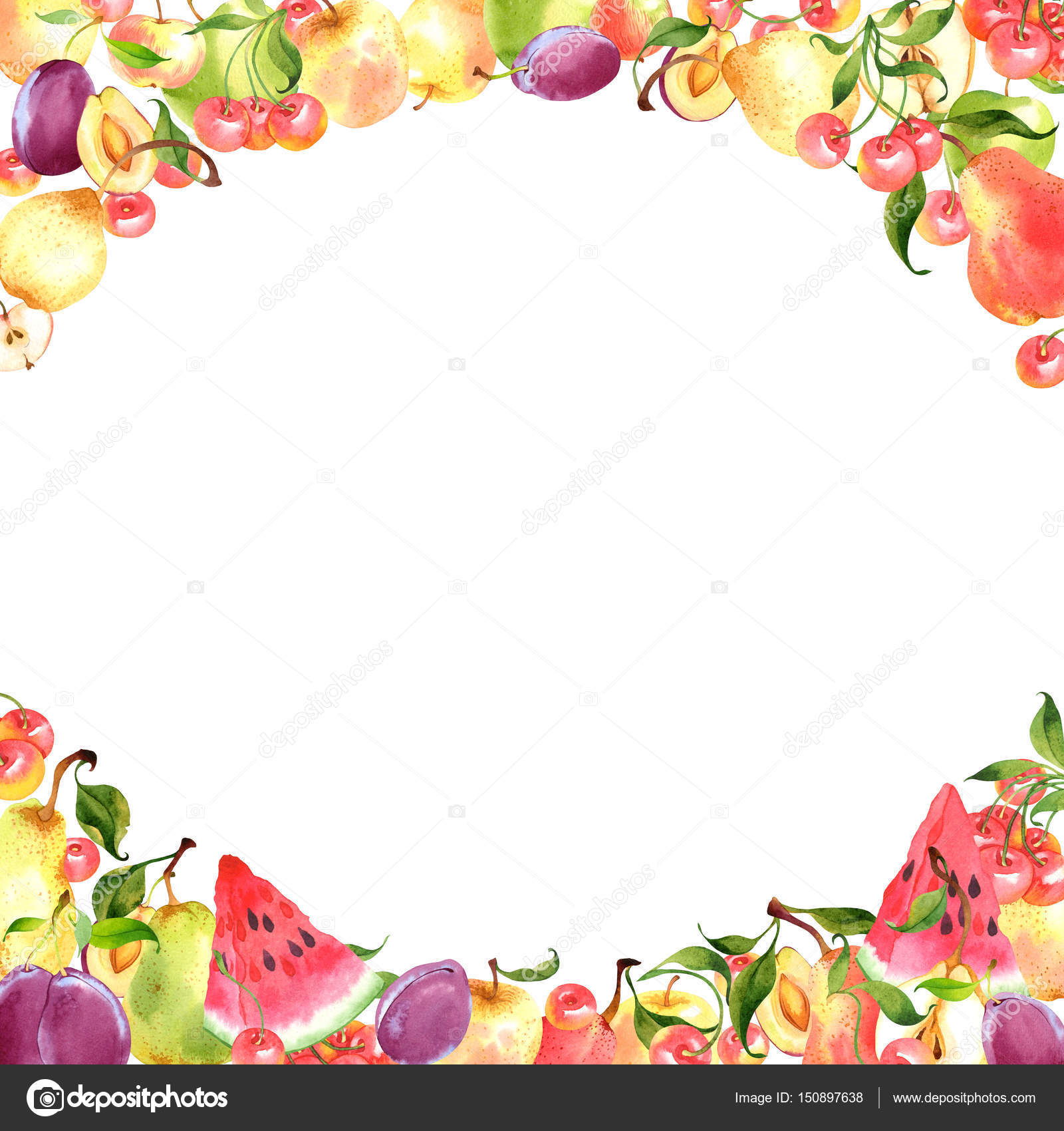 Watercolor fruit frame — Stock Photo © achtung #150897638