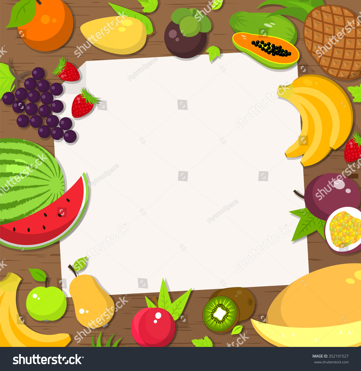 Fresh Fruit Frame Background Bright Colored Stock Vector 352191527 ...