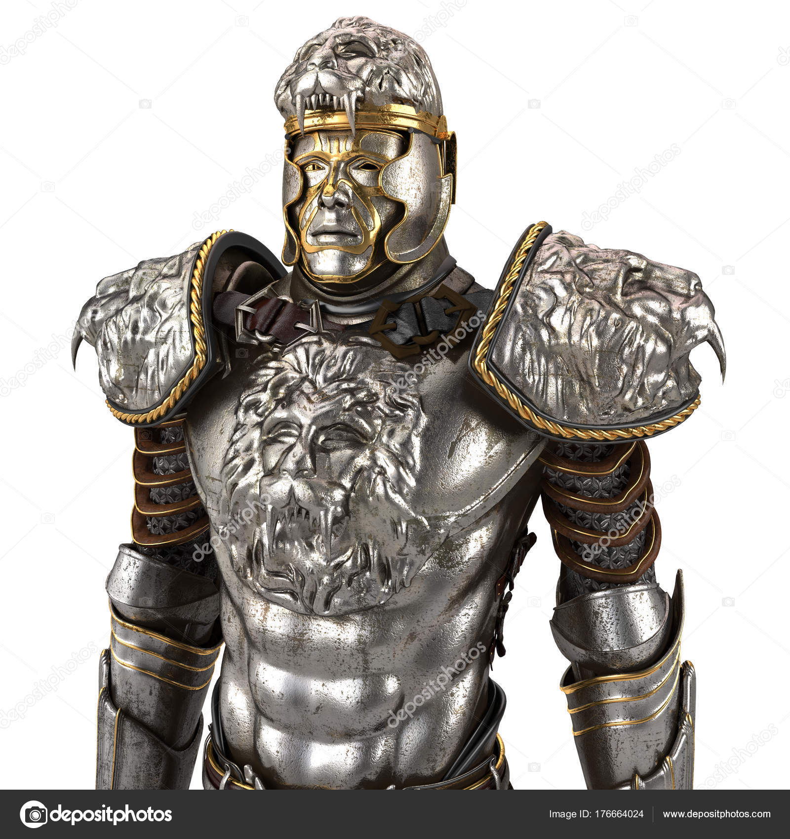 A lion full body armor suit isolated against white background. 3d ...
