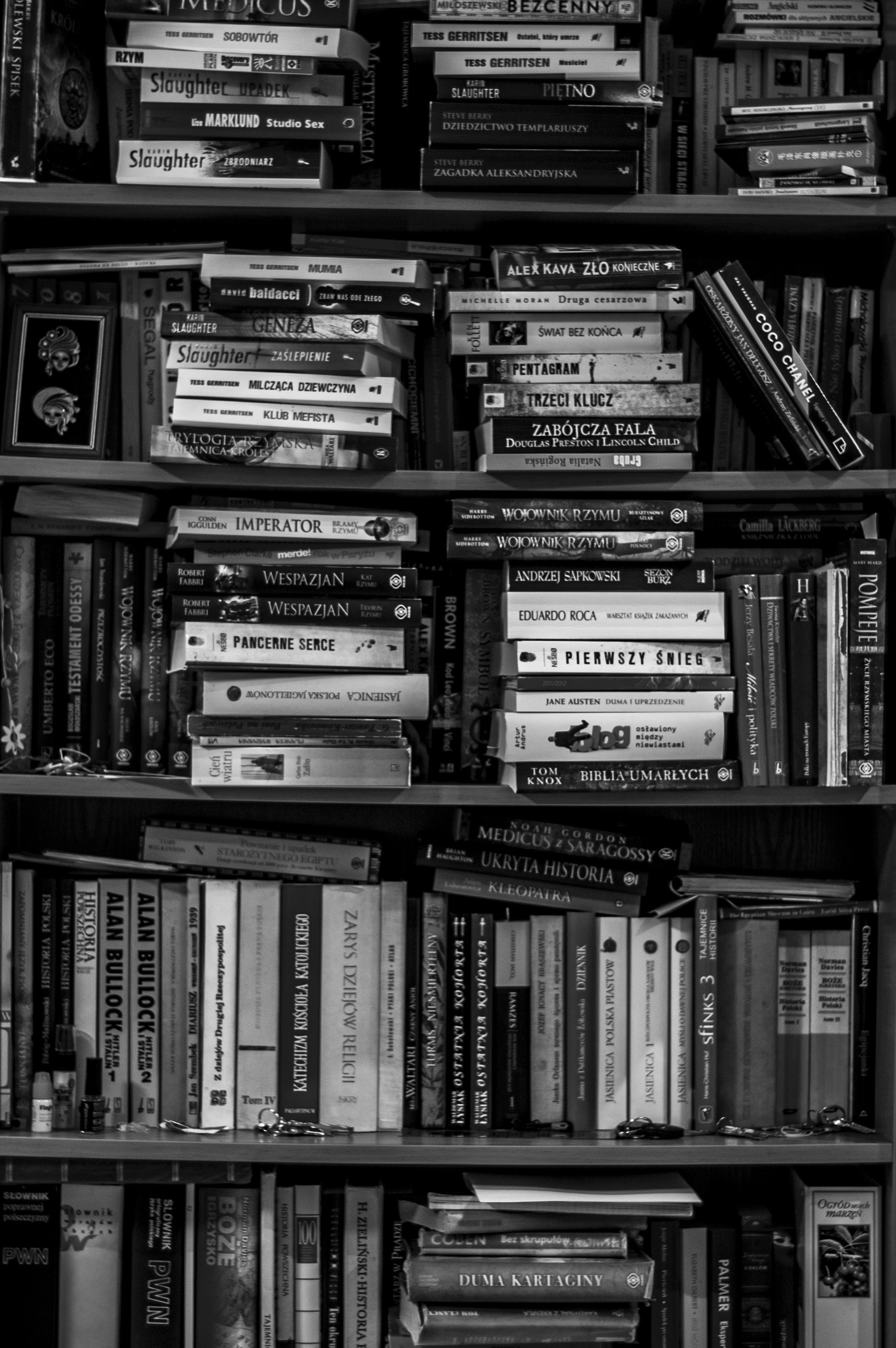 Full Frame Shot of Shelf, Black-and-white, Text, Study, Shelf, HQ Photo