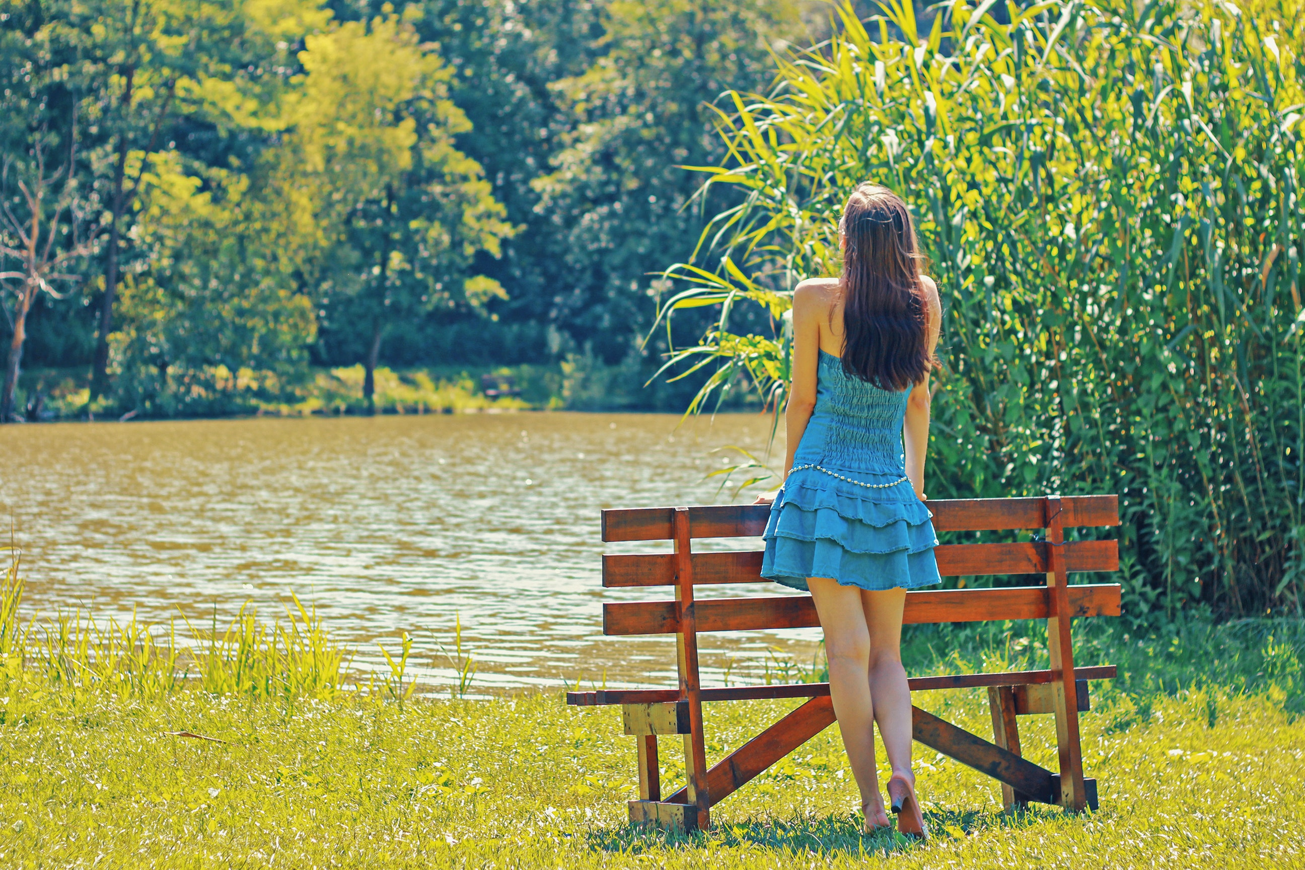 Full length rear view of a woman overlooking calm lake photo