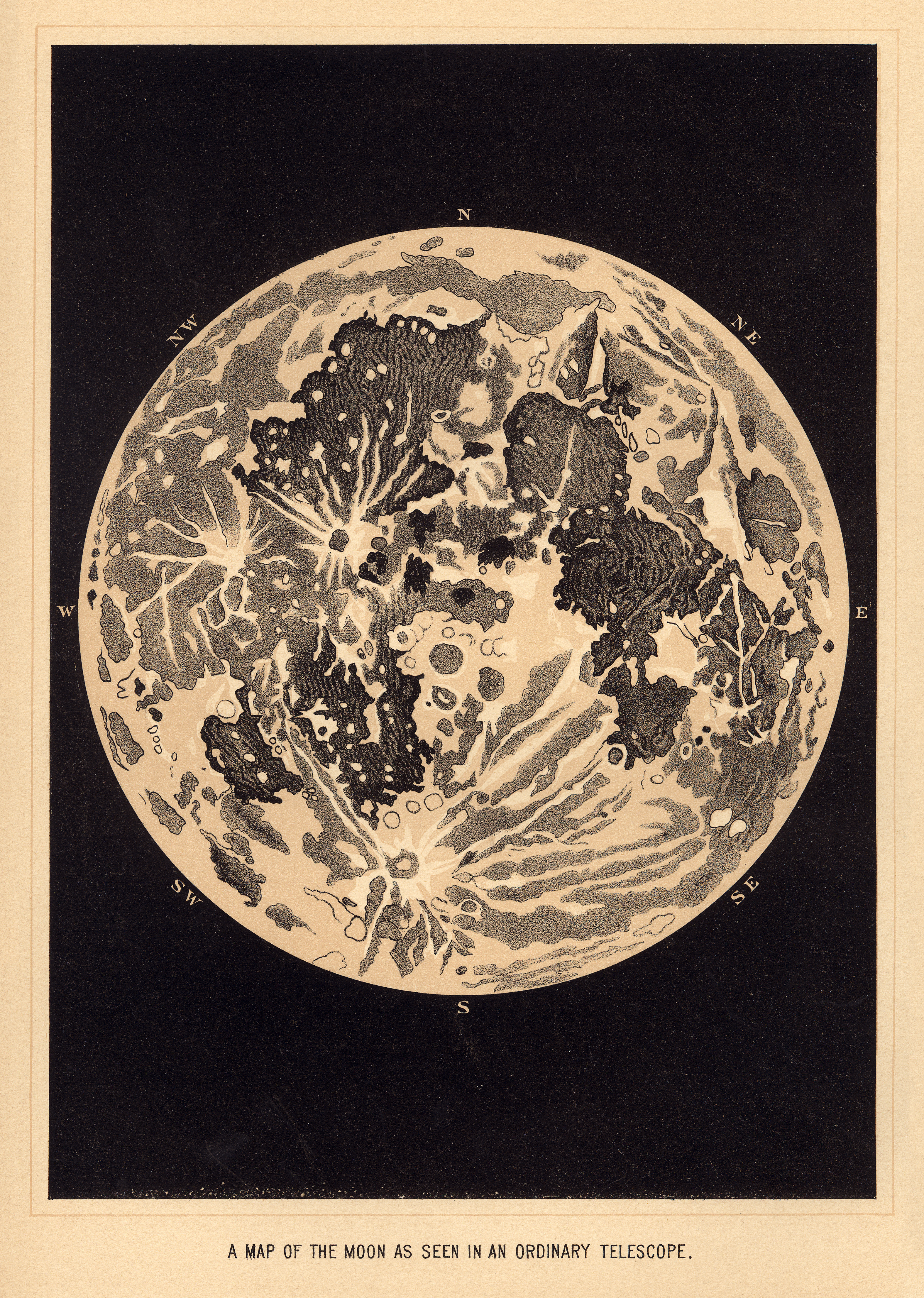 Summer sale 15% OFF Vintage moon art print, poster of the moon ...