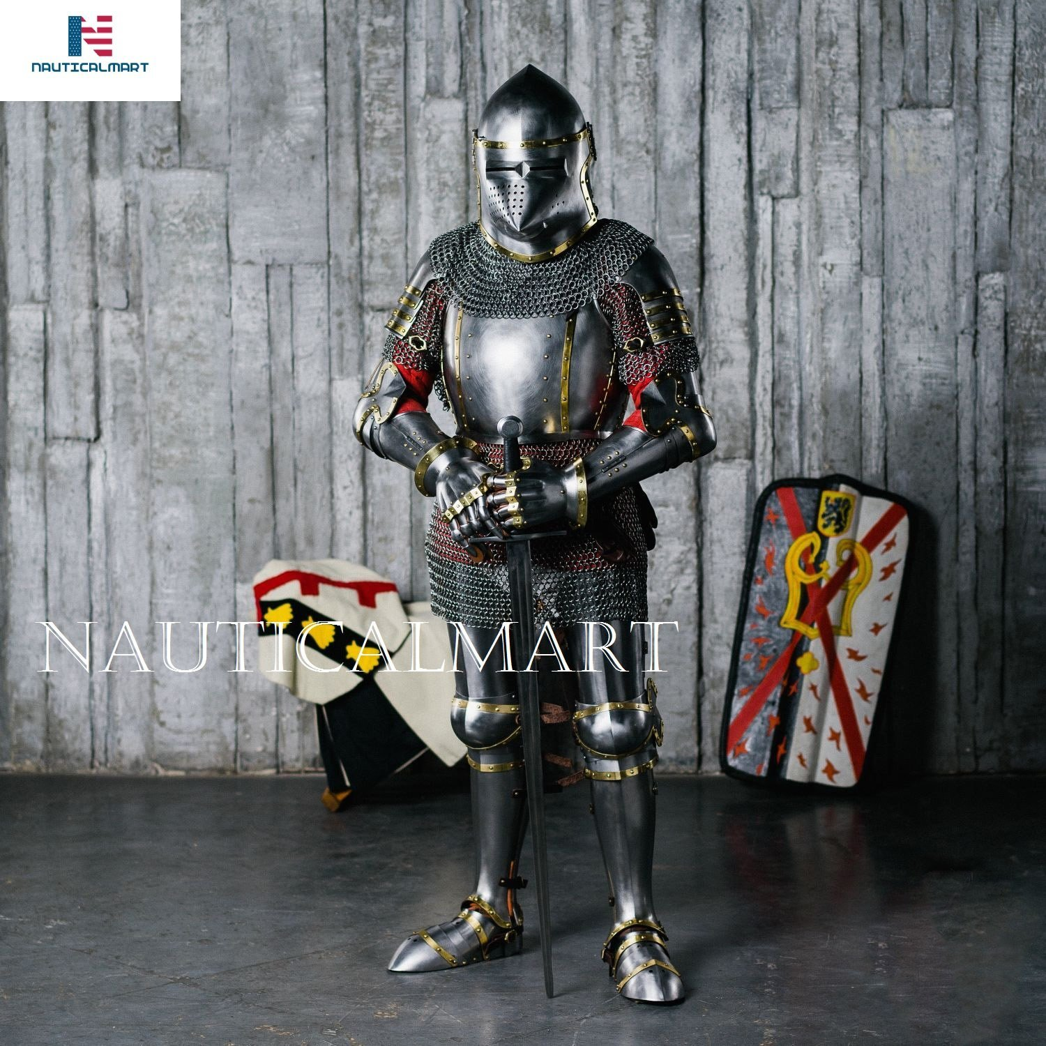 Amazon.com: NAUTICALMART Full-plate armour XIV century Churburg Suit ...