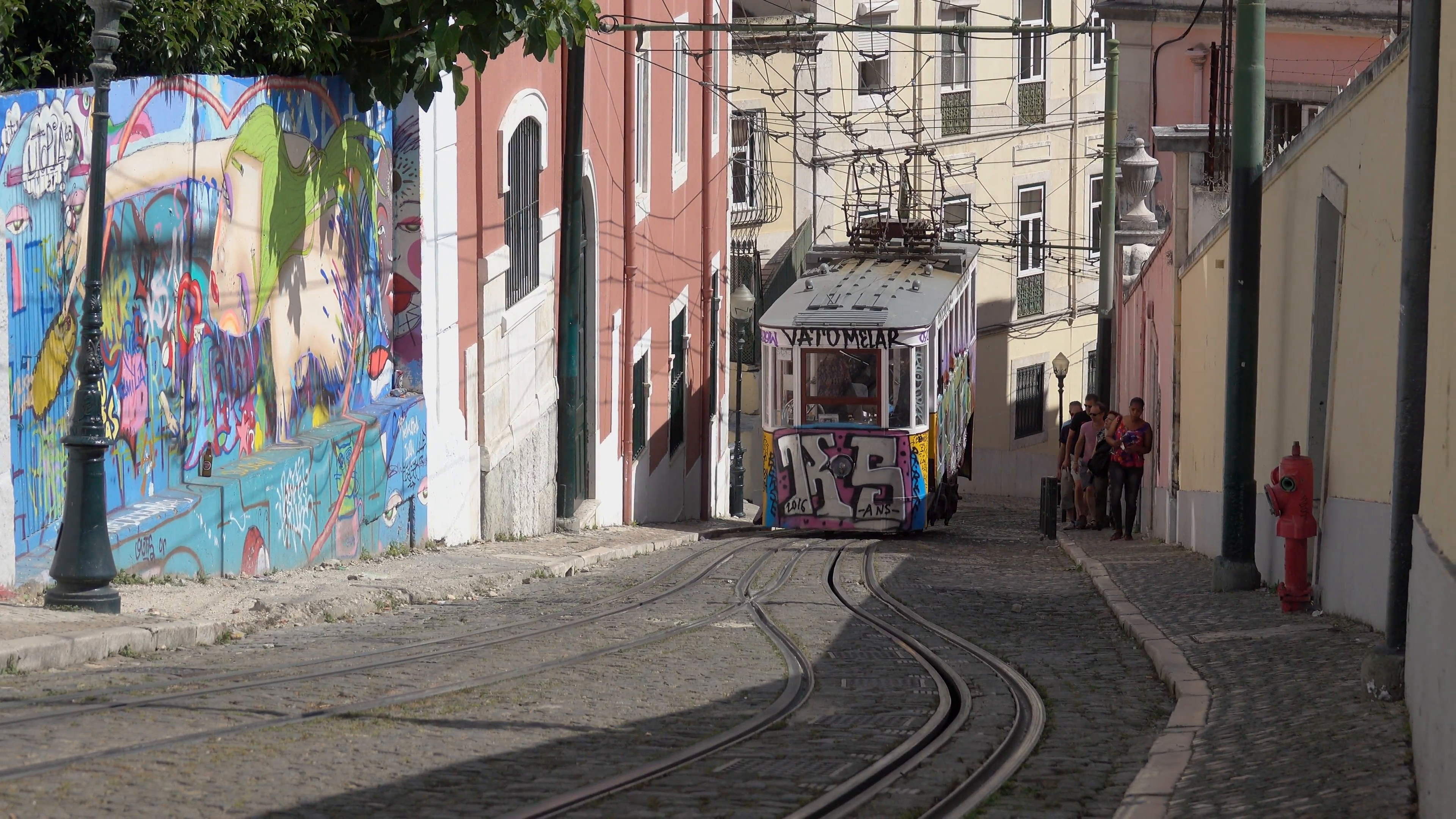 Steep hill with funicular tram moving down it Stock Video Footage ...