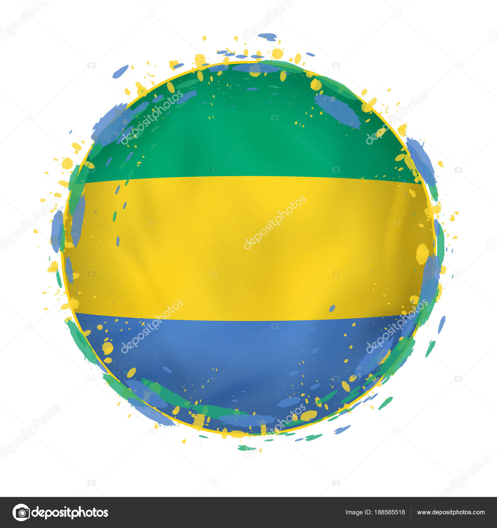 Round grunge flag of Gabon with splashes in flag color. — Stock ...