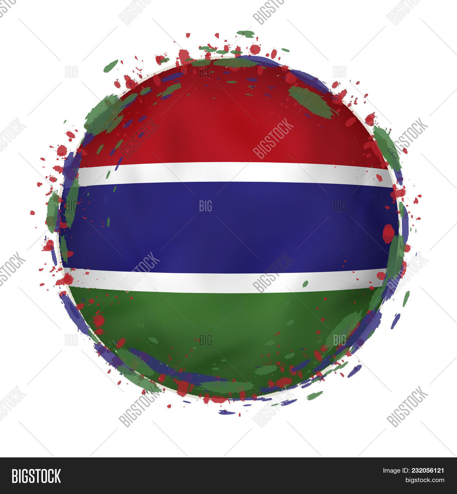 Round Grunge Flag Gambia Splashes Vector & Photo | Bigstock