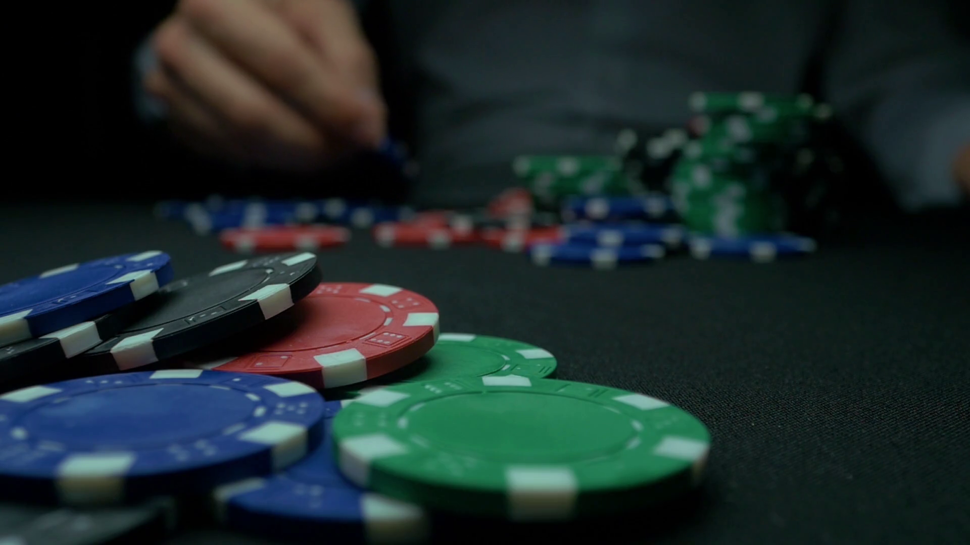 Close-Up of Man Throwing a Poker Chips in slow motion. Close-up of ...