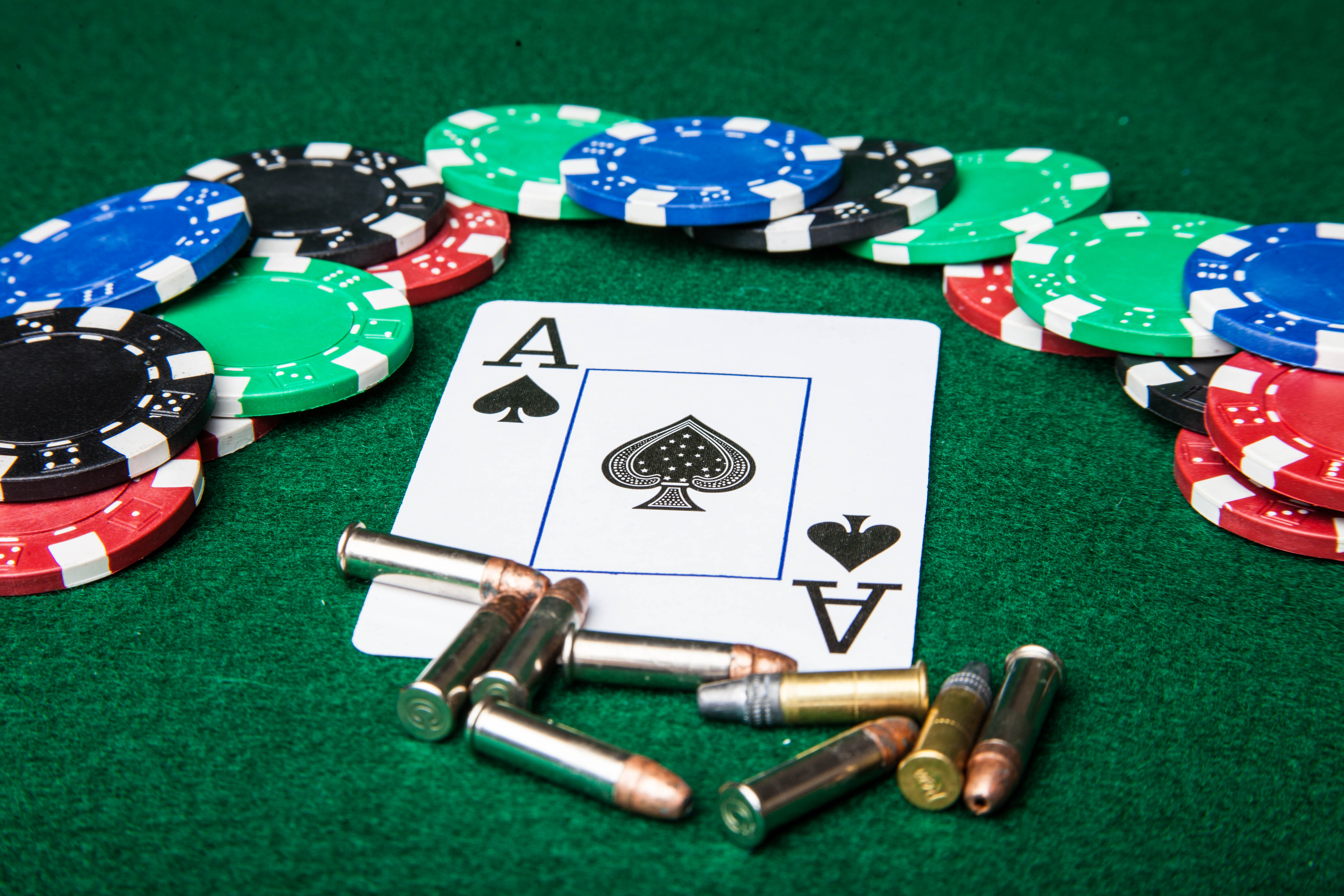 Gambling with bullets, Ace, Gambling, Threat, Table, HQ Photo