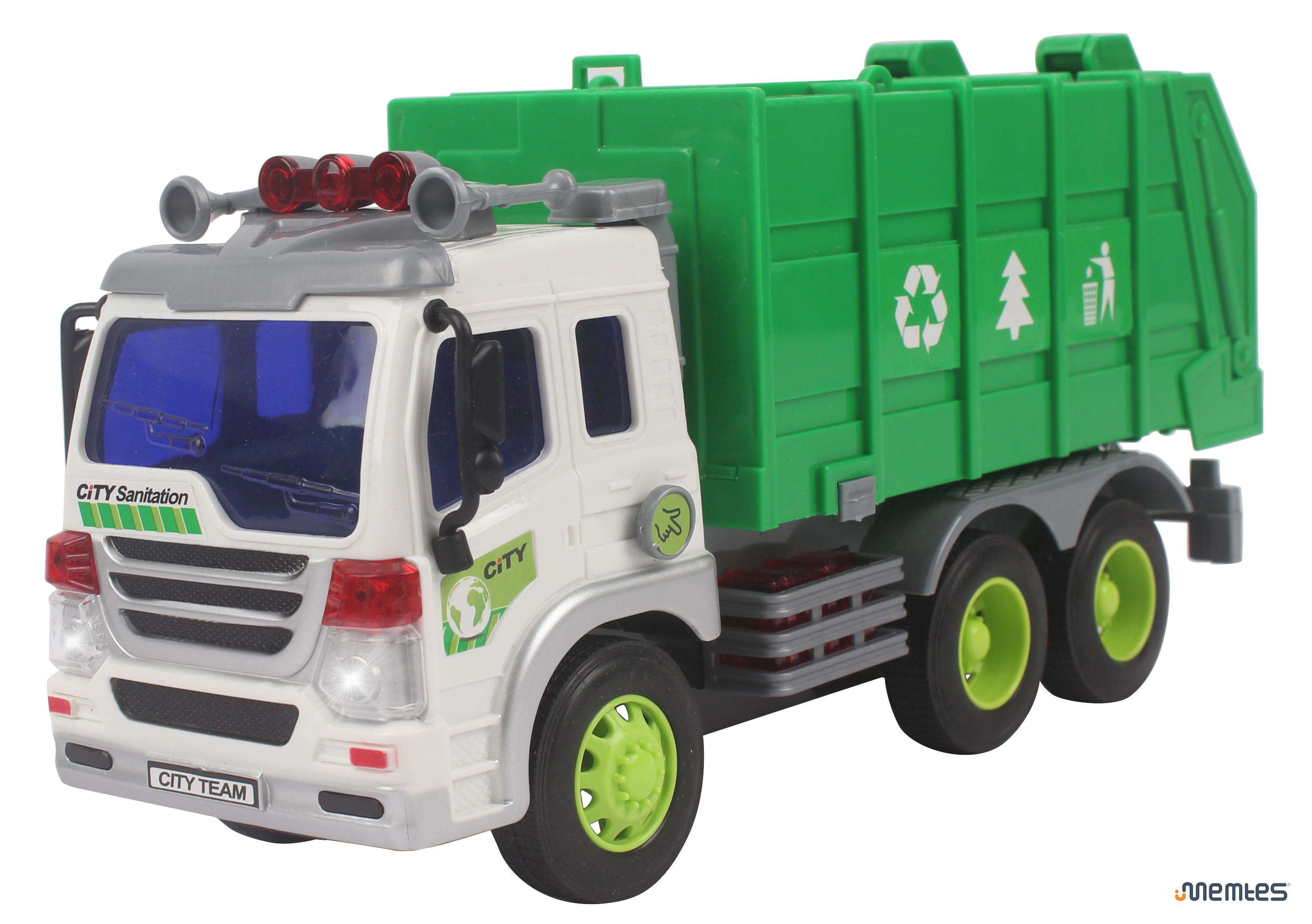 Memtes® Friction Powered Garbage Truck Toy with Lights and Sound for ...