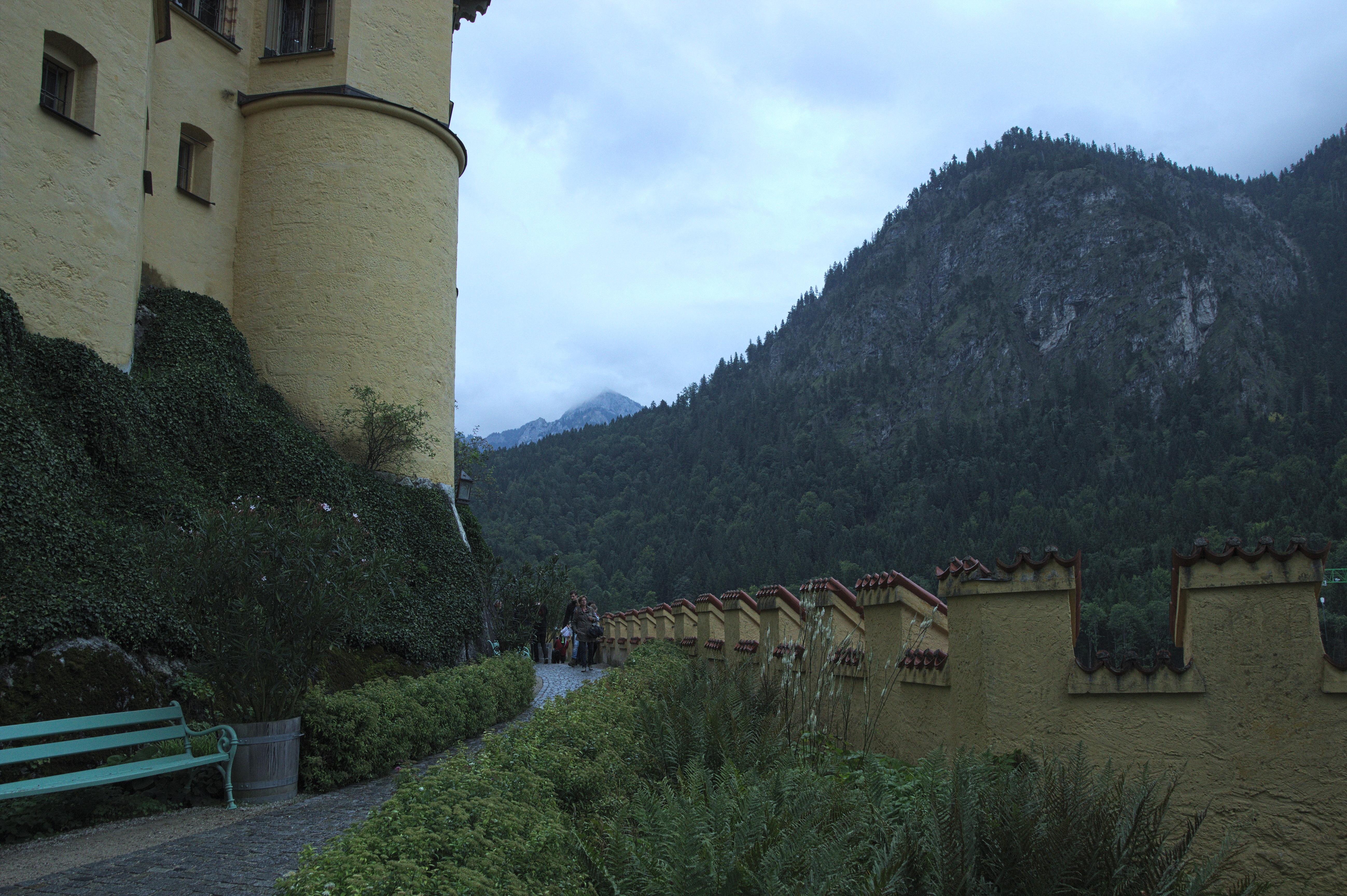 Garden at Schloss Hohenschwangau, Architecture, Building, Car, Mountain, HQ Photo
