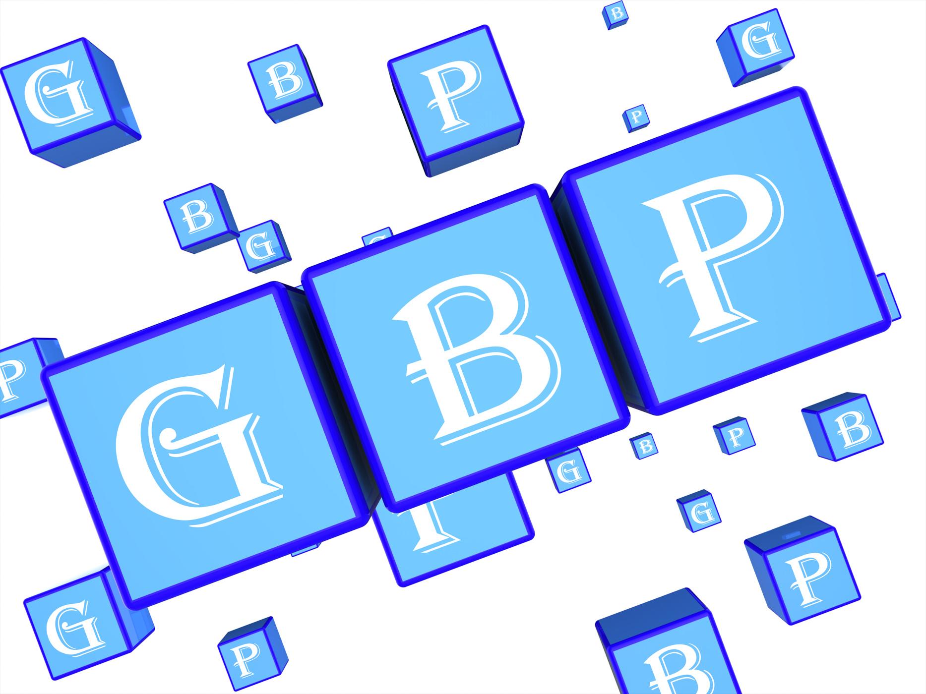 Gbp dice indicates great british pound 3d illustration photo