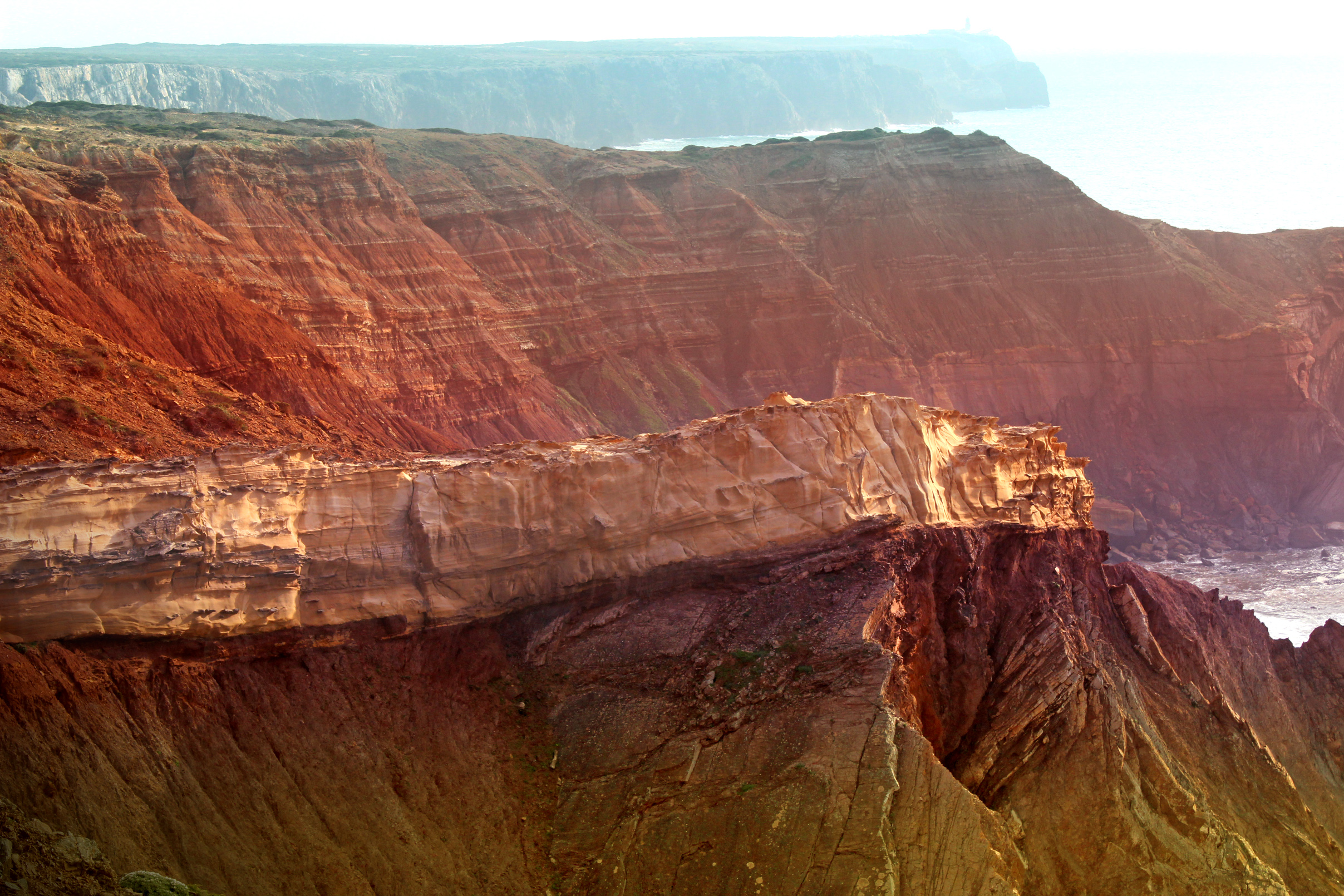 Geology - Rock Layers Forming Coastal Cliffs in the Vicentine Coast of, Algarve, Seascape, Red, Rock, HQ Photo