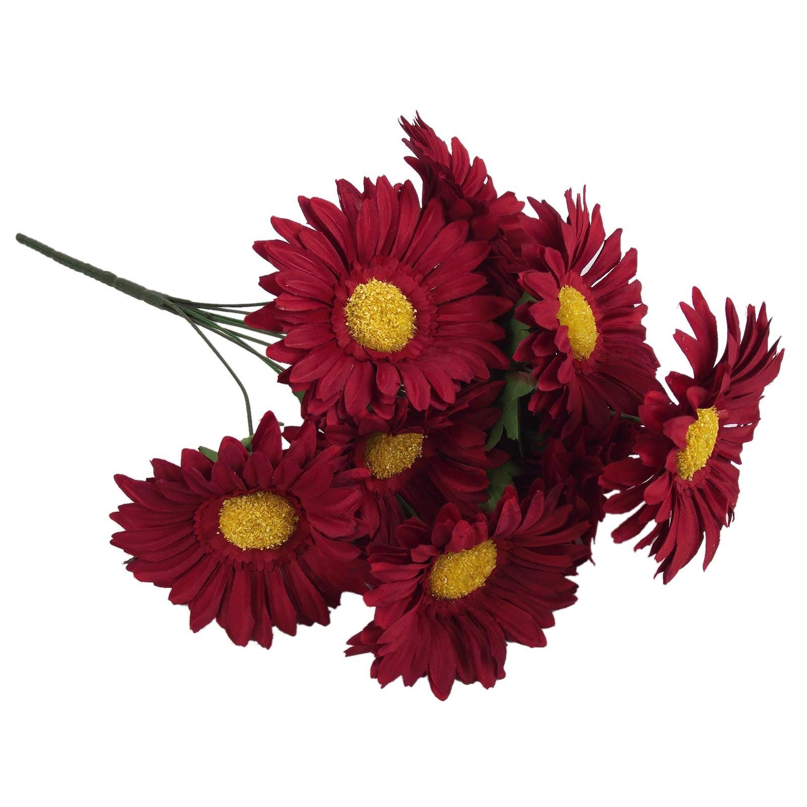 Loose Flowers - 6 Silk Burgundy Gerbera Daisies- Artificial Silk ...