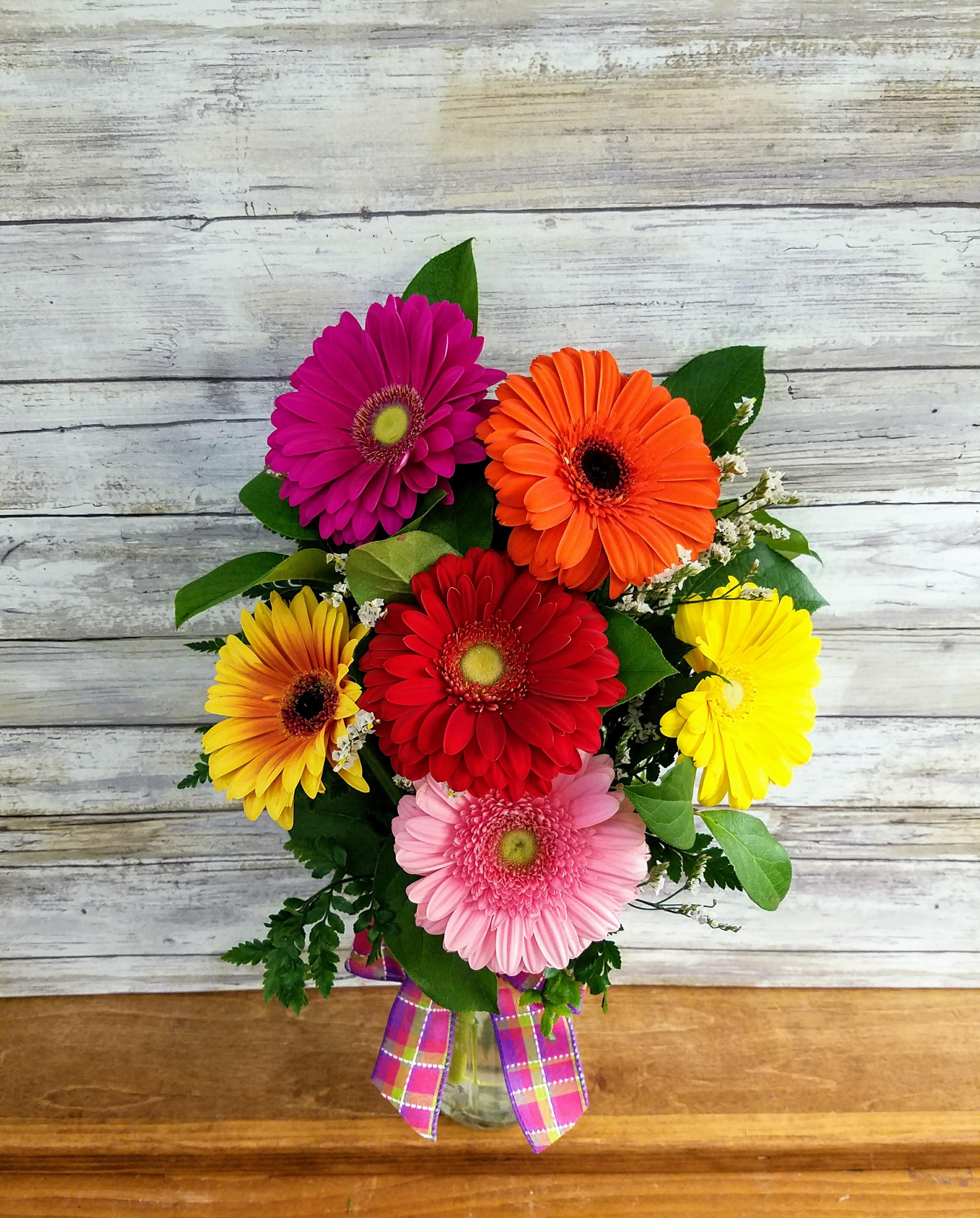 Gerbera Daisy Mason Jar in Point Pleasant, NJ | Purple Iris Flower Shop