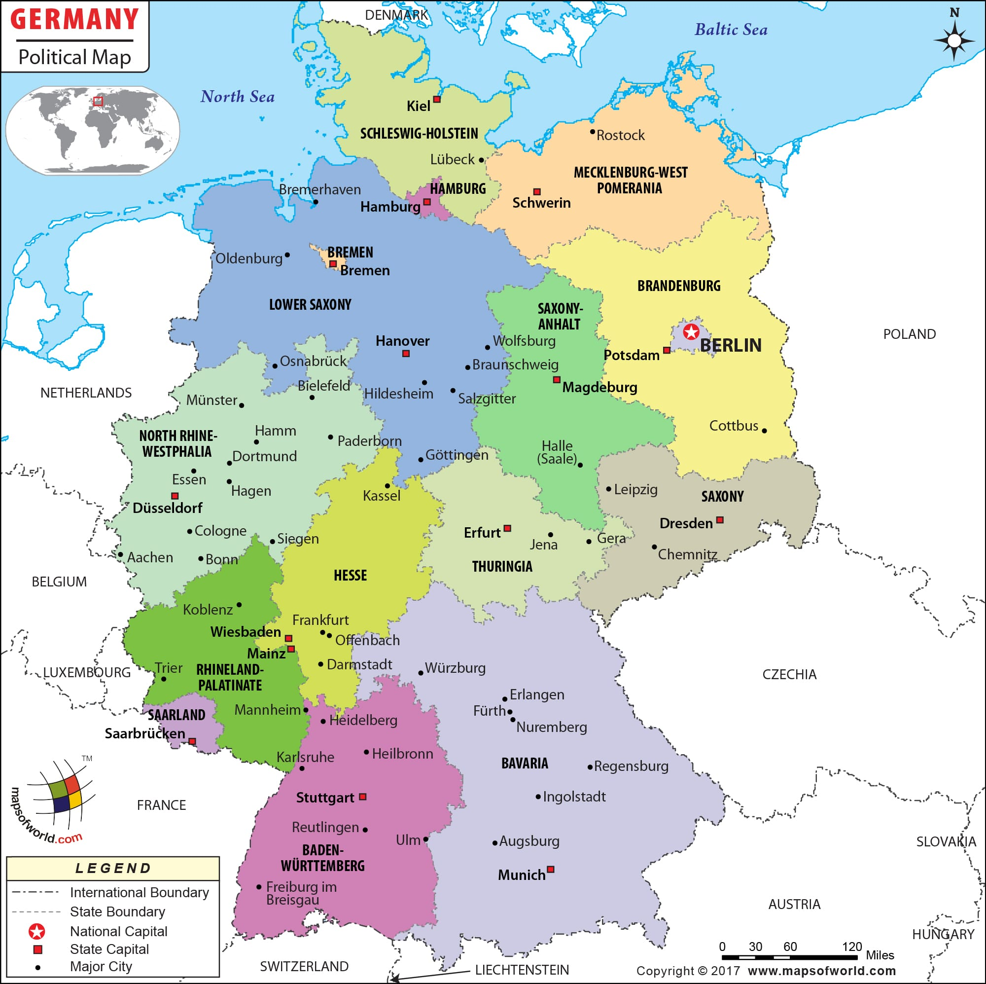 Political Map of Germany | Germany States Map