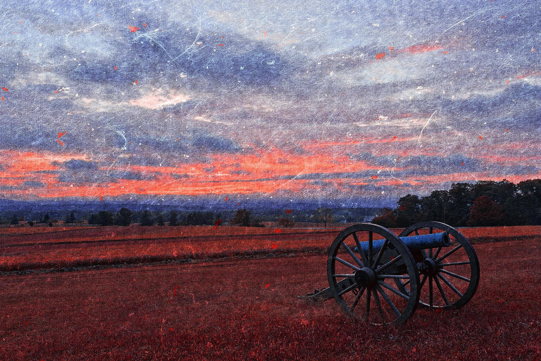 Gettysburg cannon sunset - ruby rapture photo