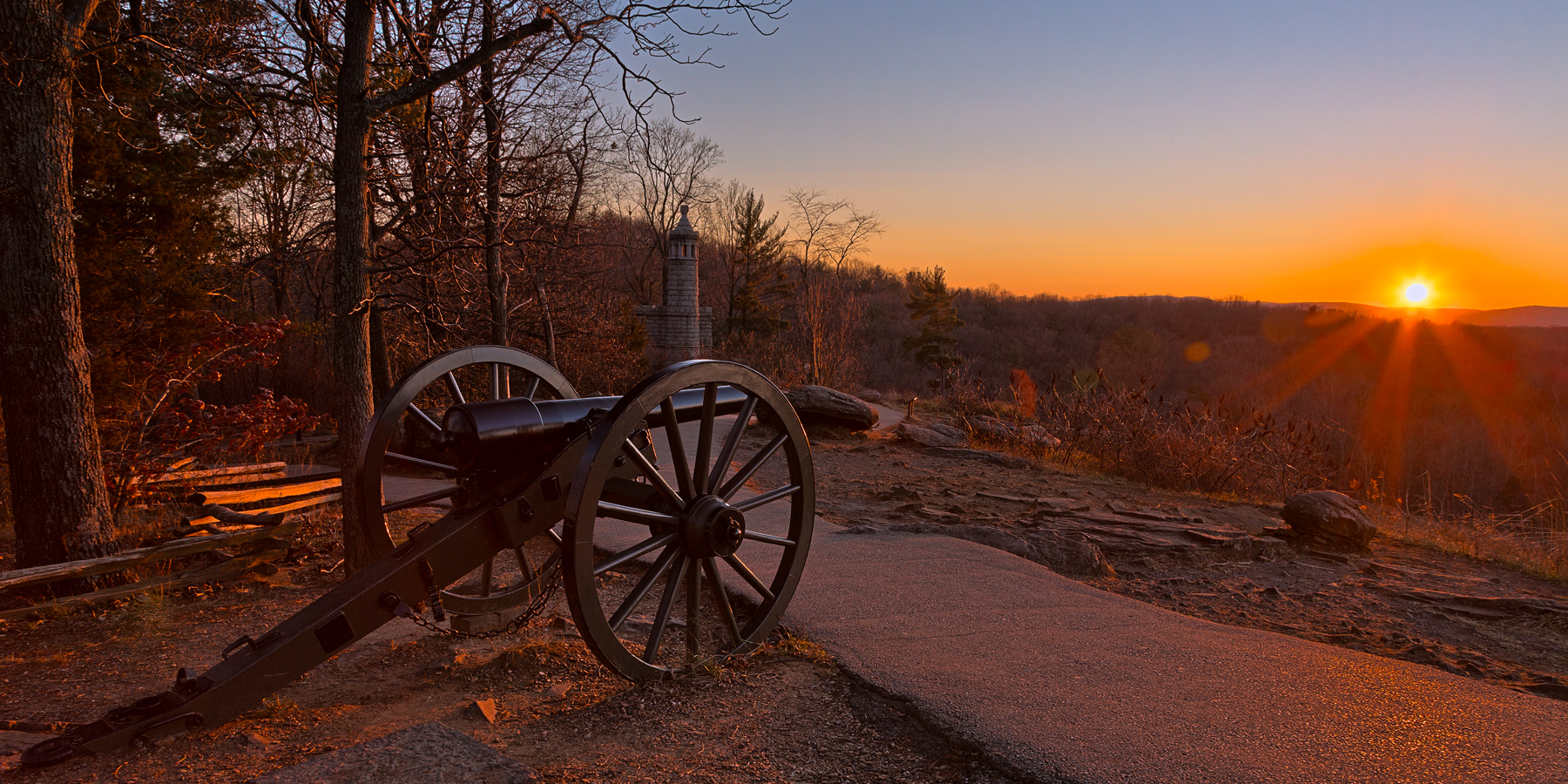 Gettysburg Sunset Cannon - HDR, Age, Path, Shade, Scenic, HQ Photo