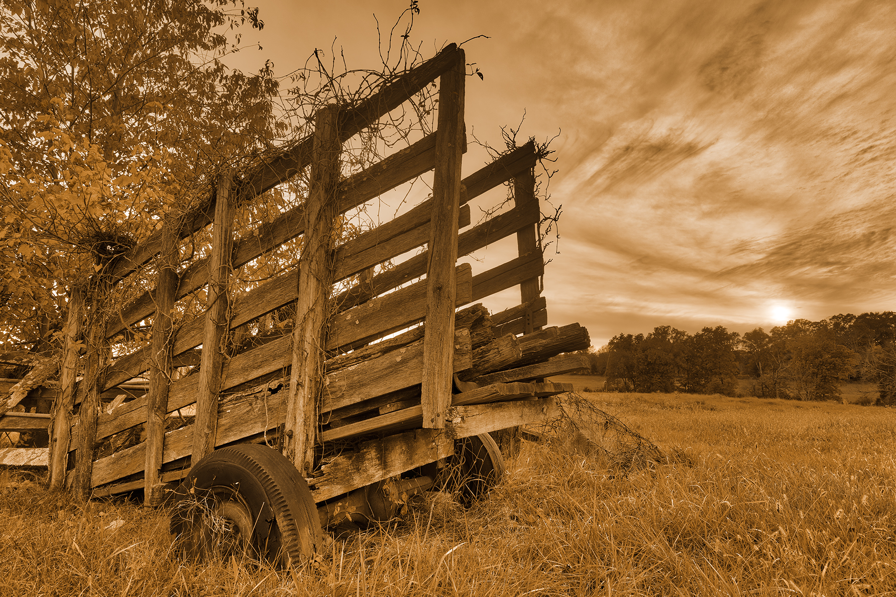 Gettysburg sunset decay - sepia nostalgia hdr photo