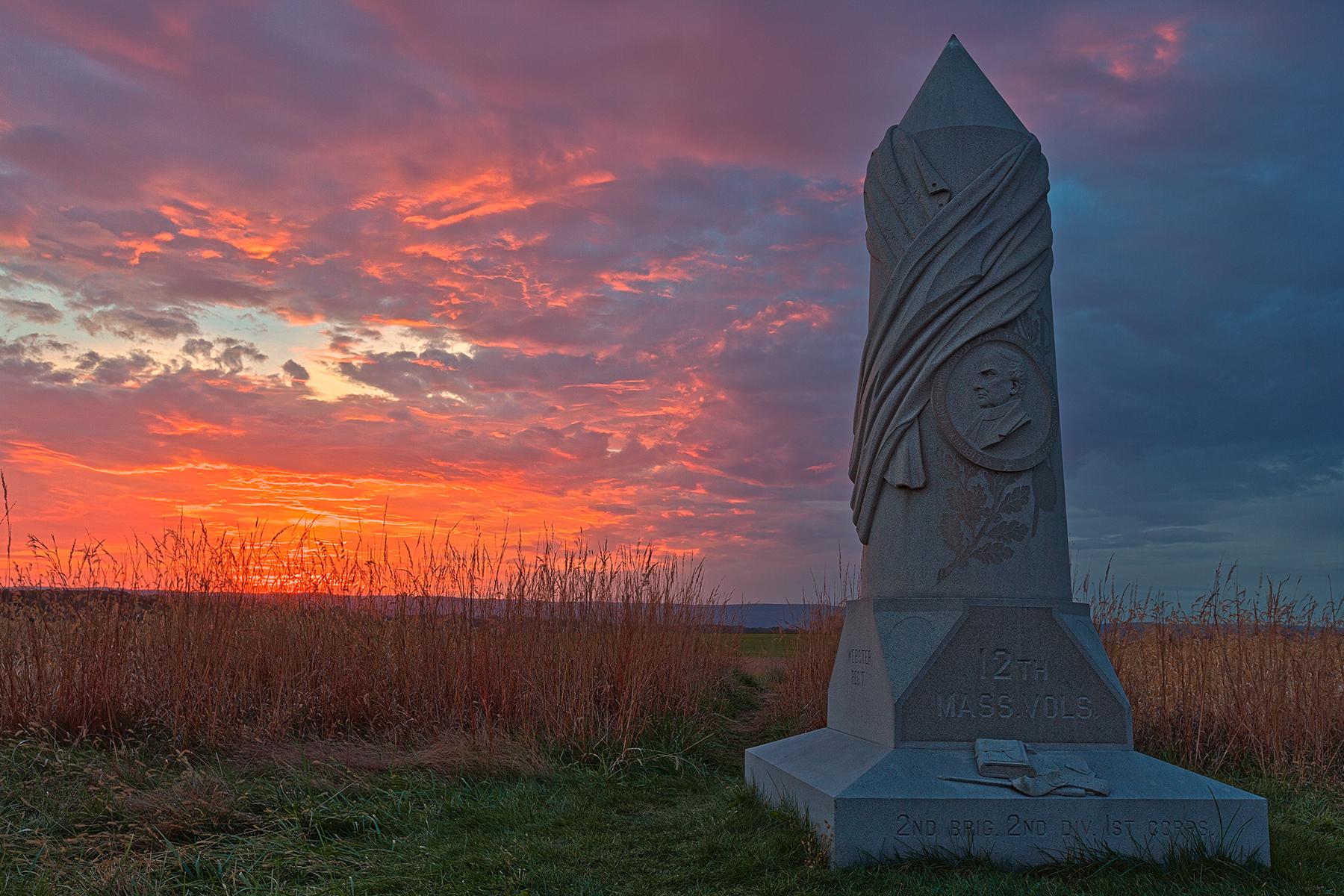 Gettysburg Sunset - HDR, 12, Obelisk, Range, Pretty, HQ Photo