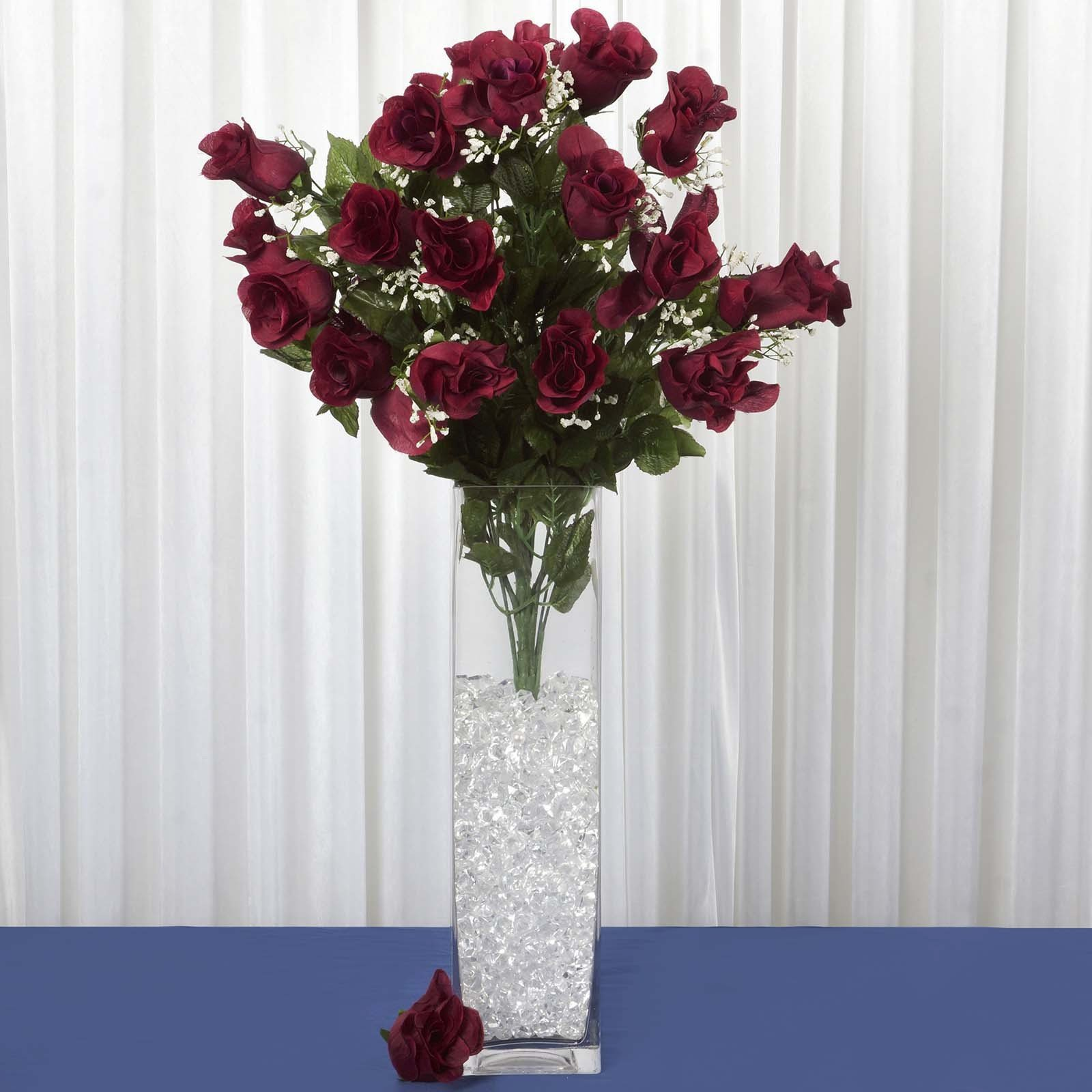 4 Pack Burgundy Artificial Giant Rose Bud Flower Bridal Bouquet ...