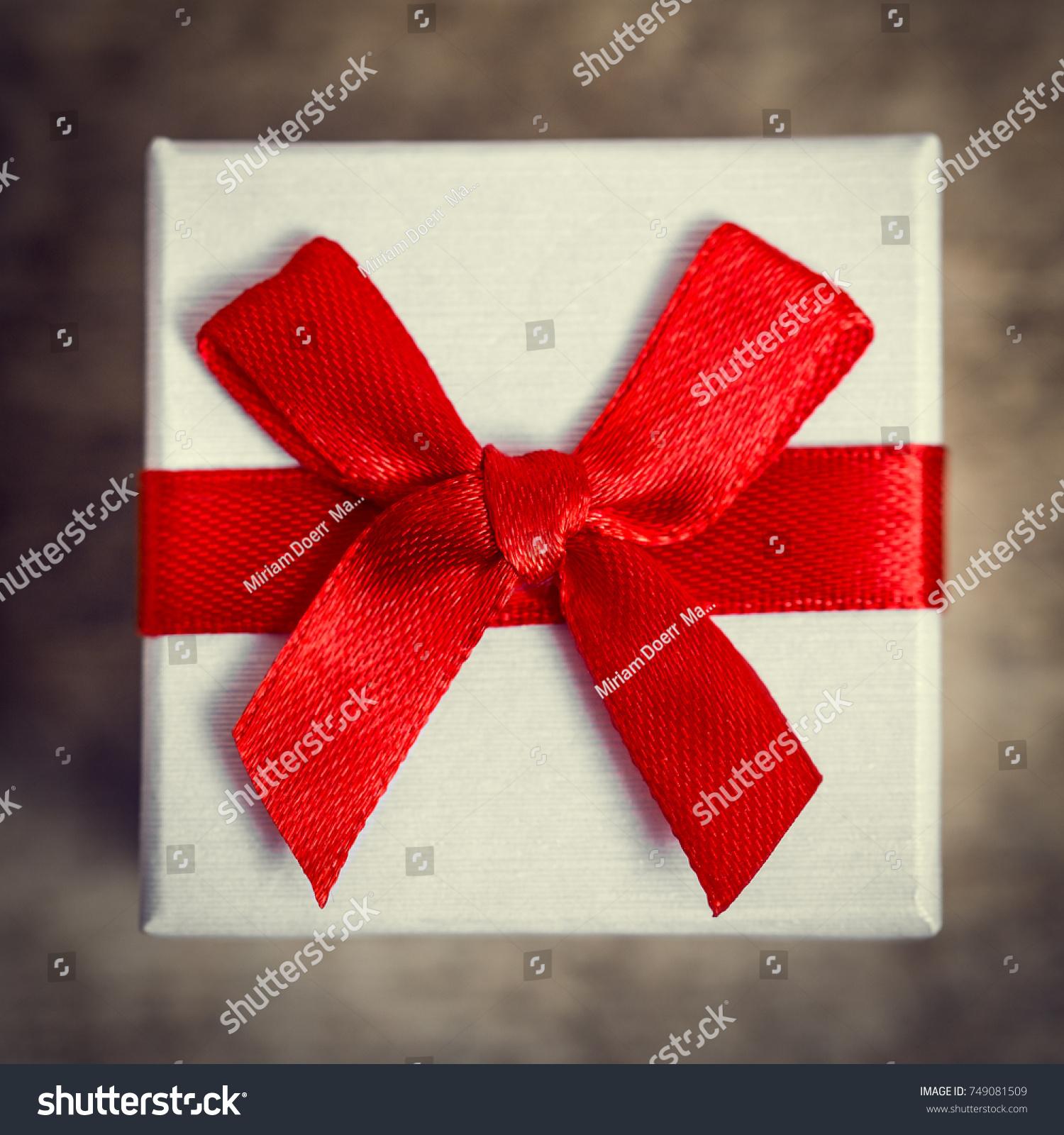 Closeup Little Gift Box Red Ribbon Stock Photo 749081509 - Shutterstock