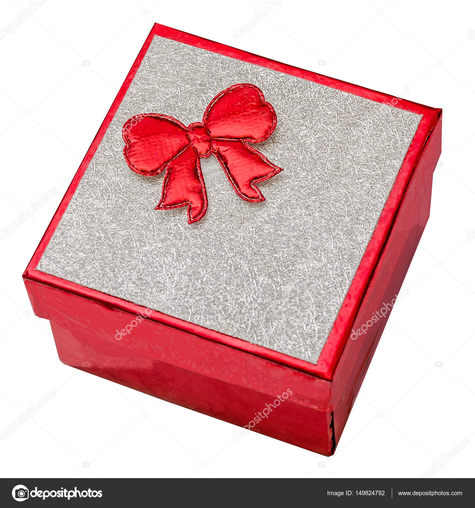 Red gift box with shinny silver cover and red bow, close up, — Stock ...